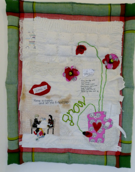 LIVES SHARED by Janet Wilkinson, Judith Railton and Sue Boardman, hand & machine stitch with applique and old household fabrics