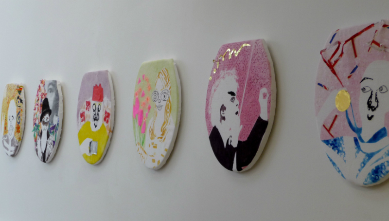 V.I.P. TREATMENT by Barbara Meynell. Rachael Howard ans Su Chacewiez/Robert Bluett fabric prints and collage/ 9 toilet seats