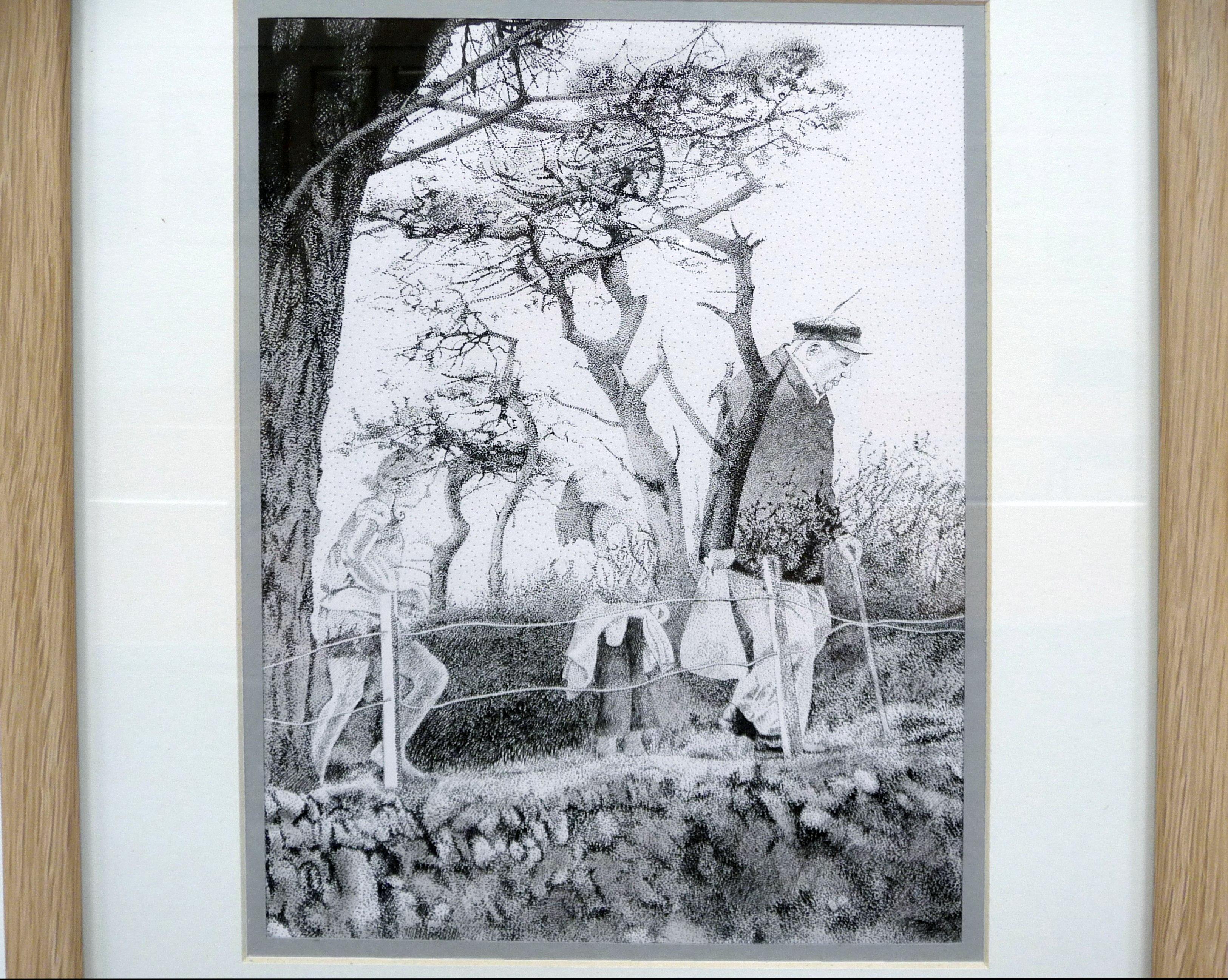 LIFE BETWEEN LIFE by Howard Gardener, pen & ink, acrylic