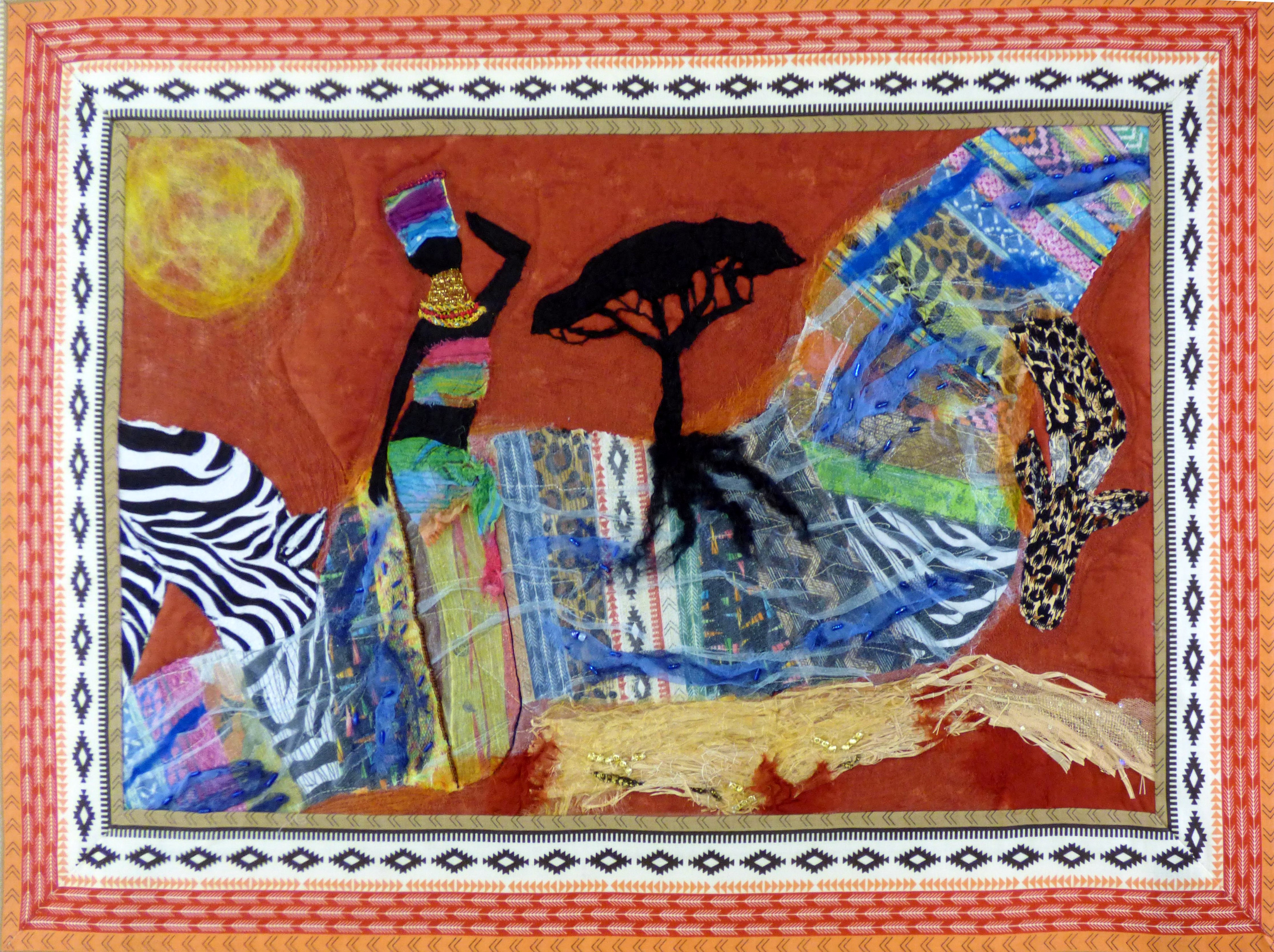 RIVER OF LIFE by Hilary Atherage, N.Wales EG, applique aith hand & machine embroidery