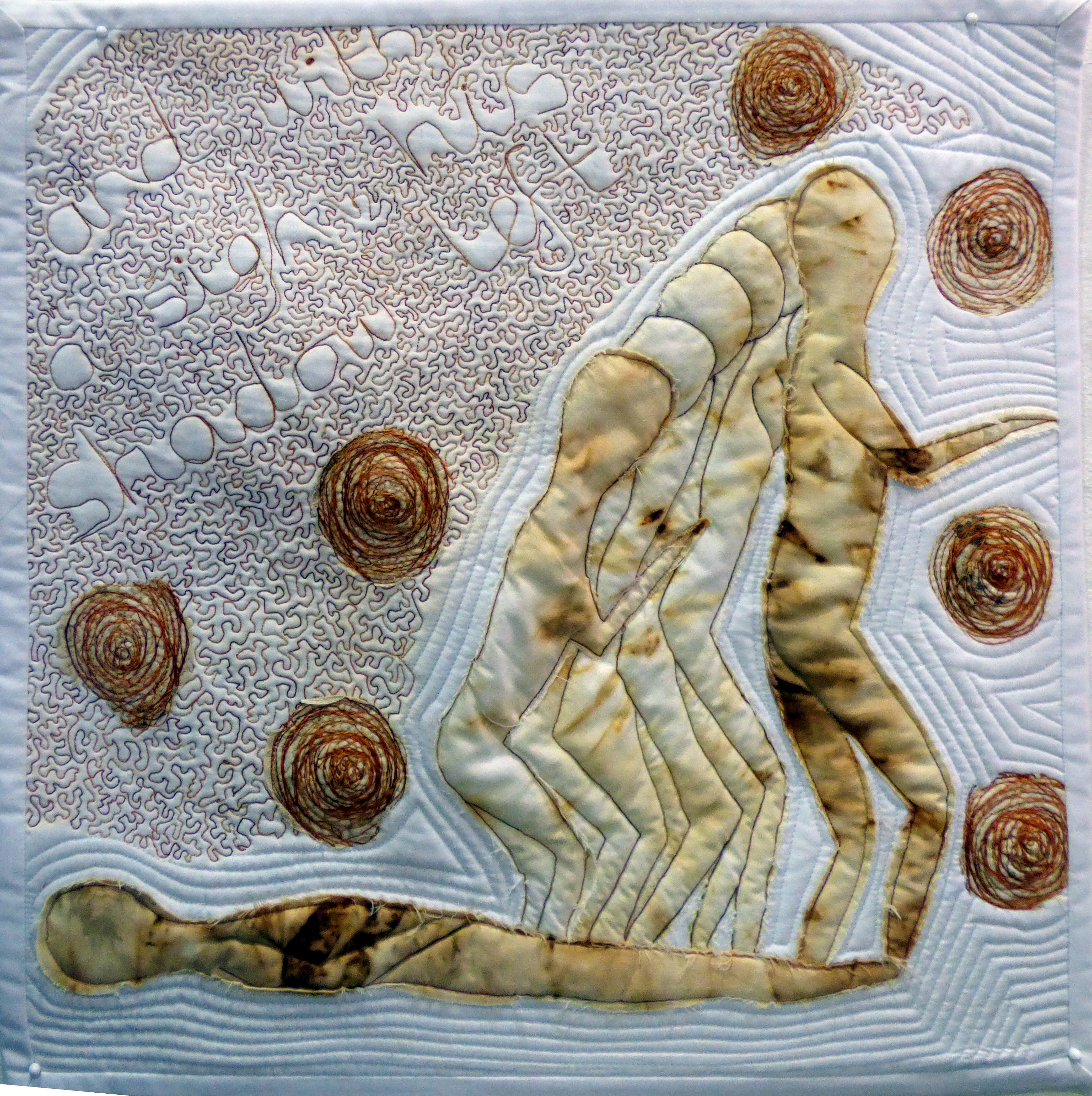 """DEMENTIA 1 """"AND WITH A SIGH"""" by Melanie Baugh, N.Wales EG, rust dyed fabric with applique quilting"""