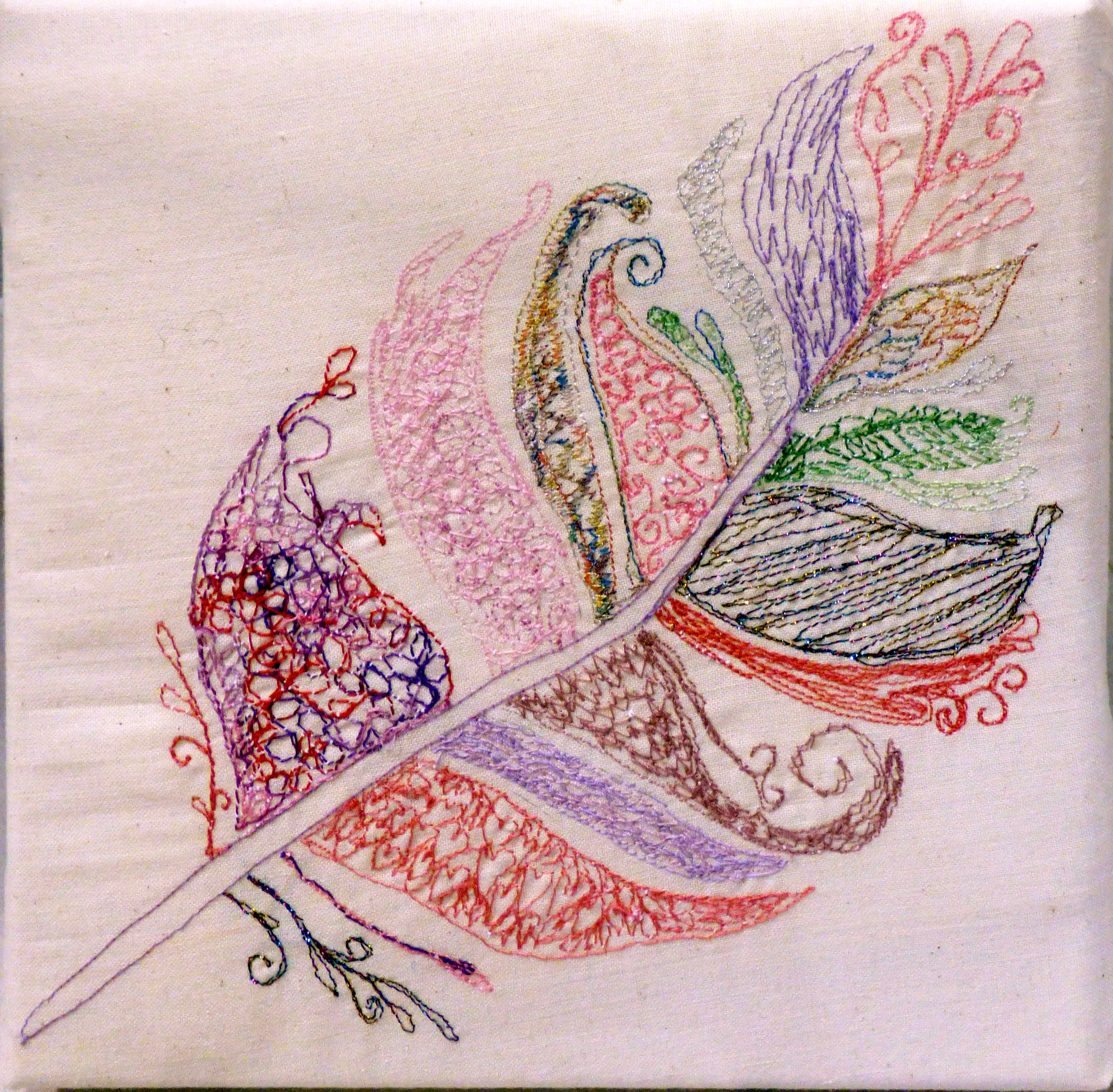 TICKLED PINK by Brenda Dunn, N.Wales EG, free machine embroidery