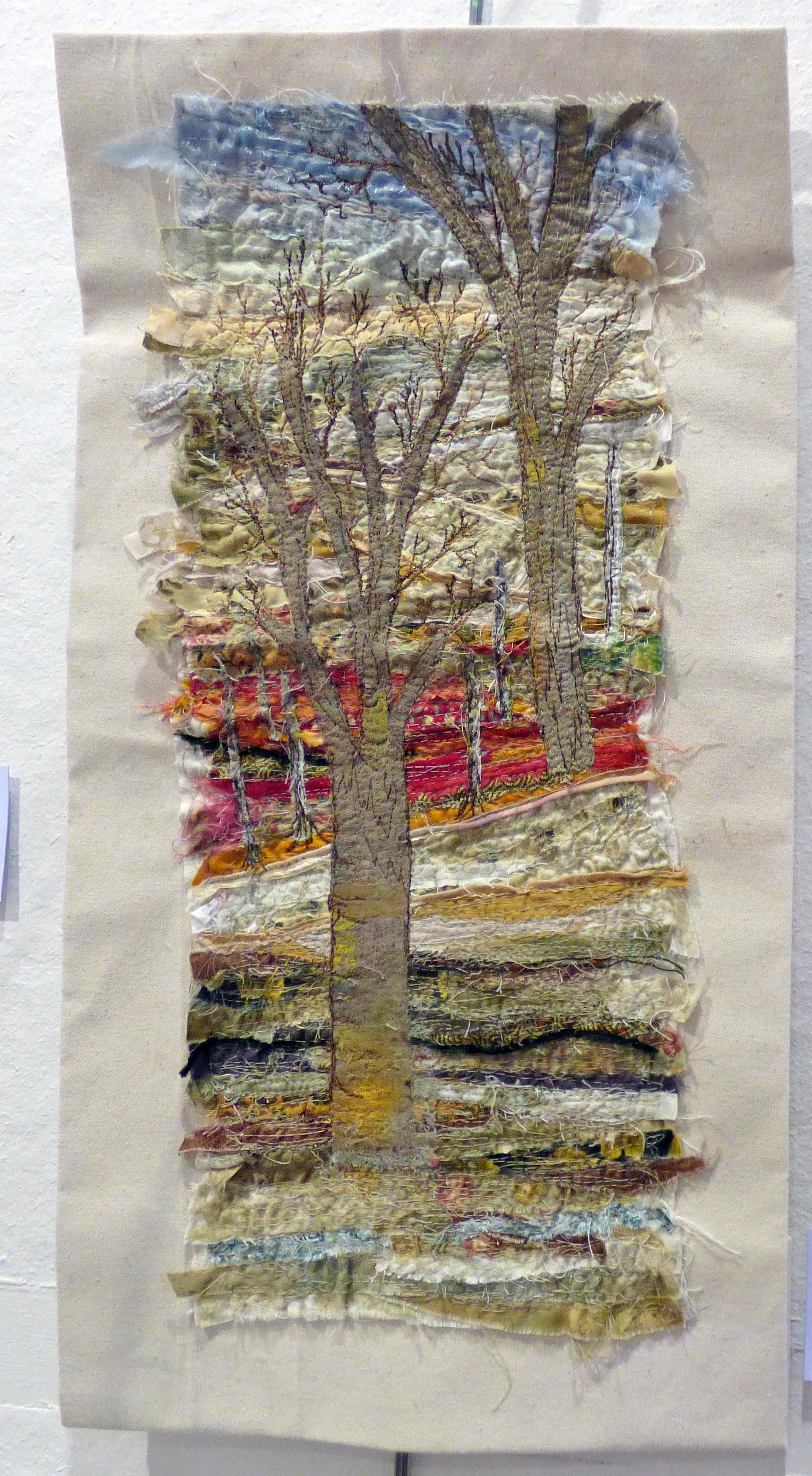 WOODLAND SCENE by brenda Dunn, N.Wales EG, free machine embroidery on calico