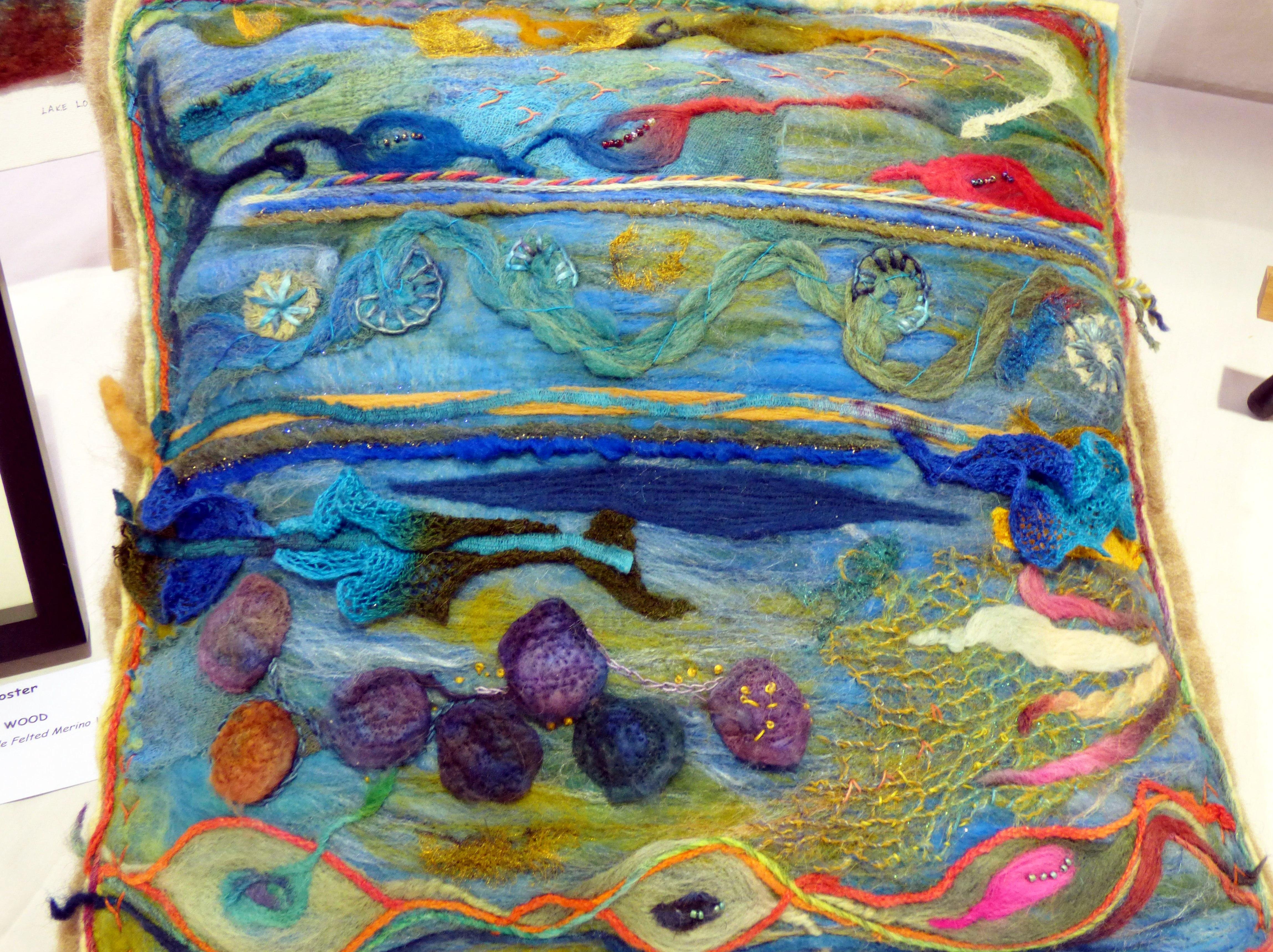 CUSHION COVER by Janine Liggins, N.Wales EG, embellished handmade felt