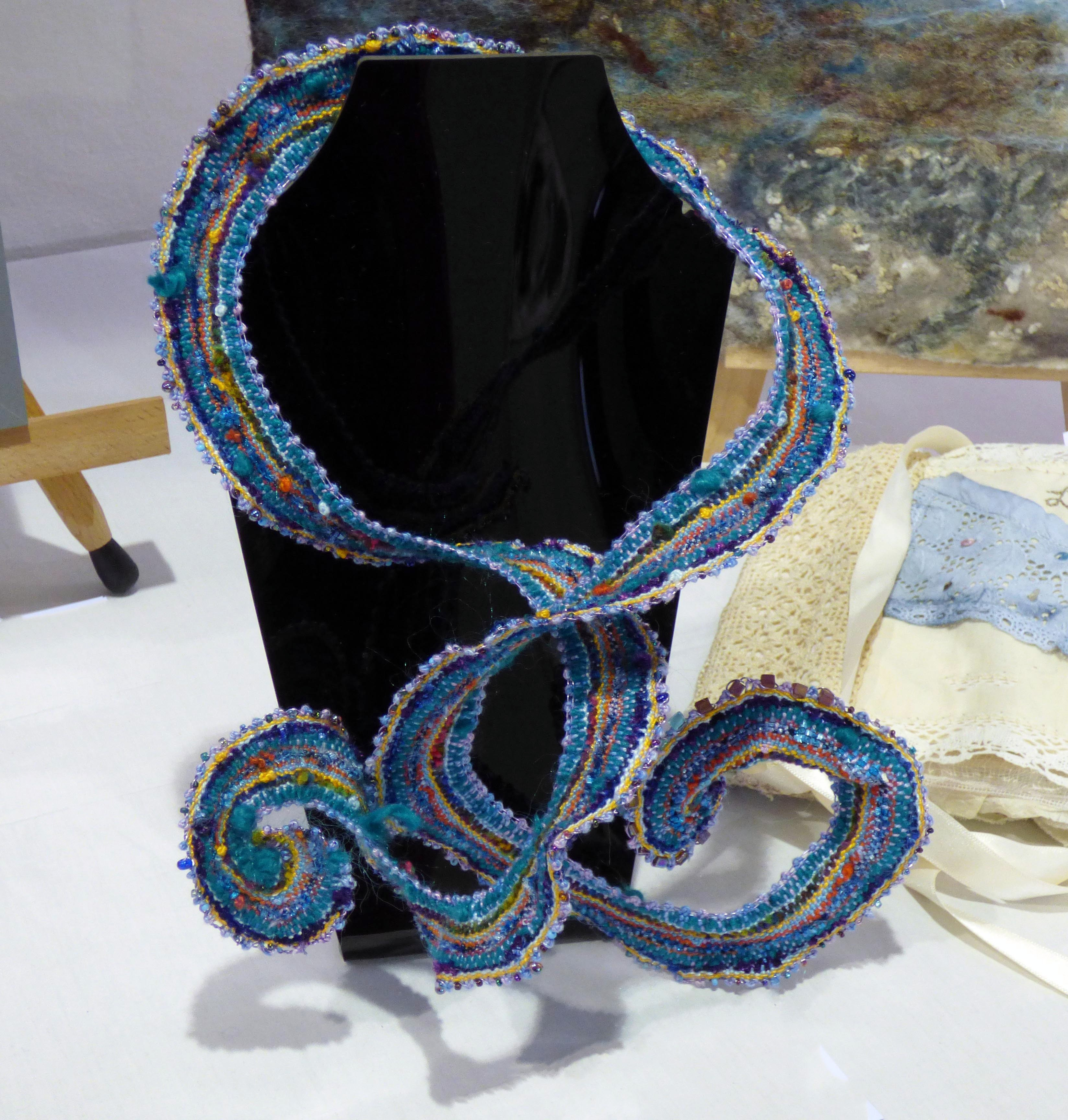 TURQUOISE NECKLACE by Diana Finn, N.Wales EG, Torchon lace coil