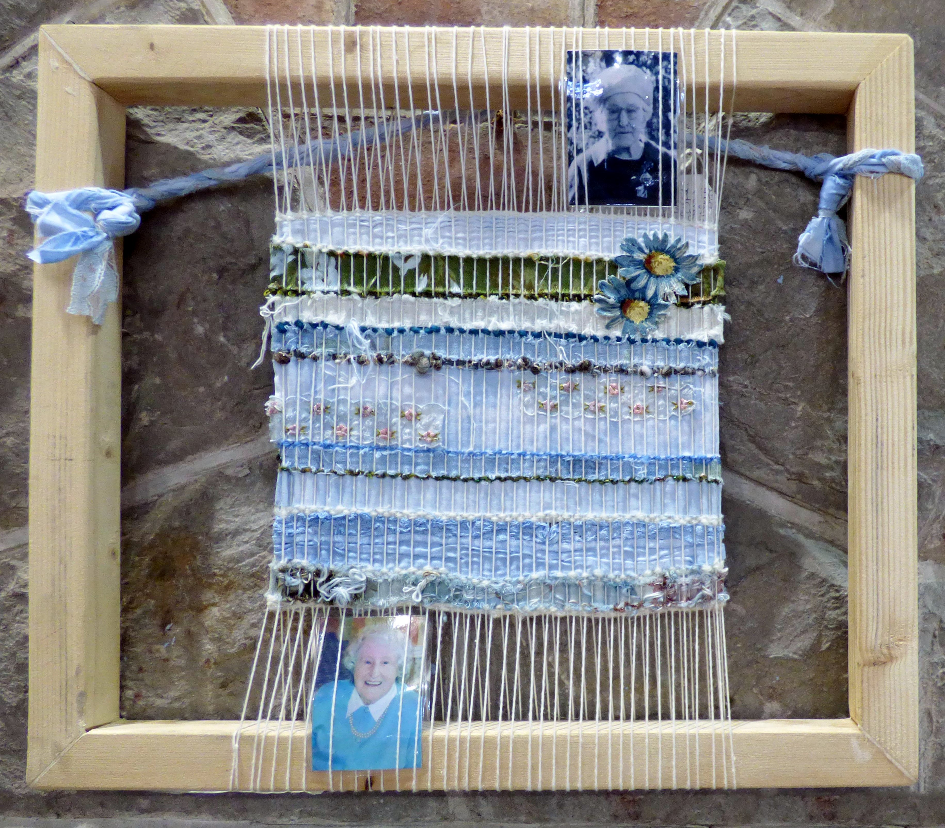 MEMORIES WITH LOVE by Christine Caukill, N.Wales EG, woven indigo dyed recycled fabrics
