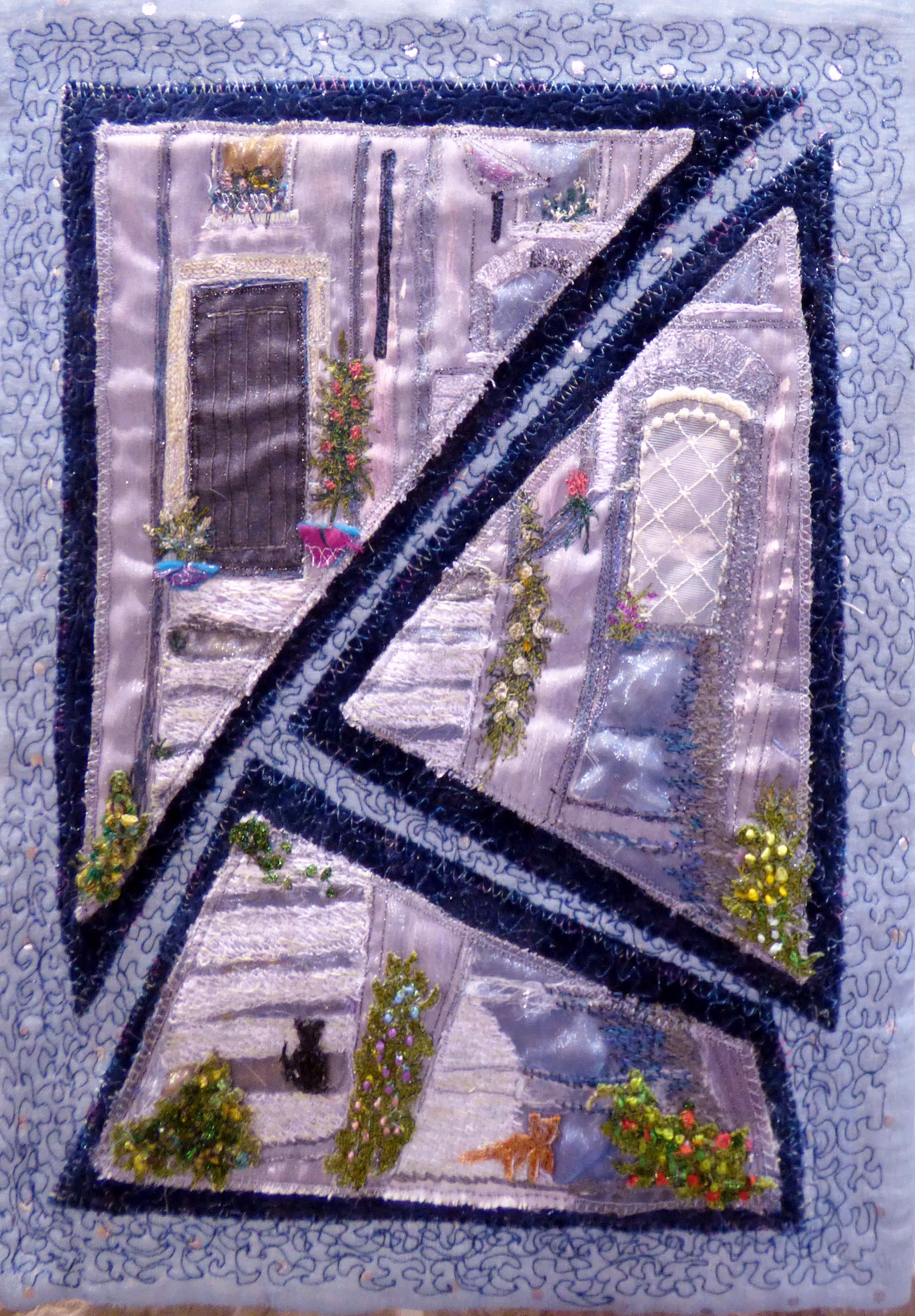 QUIET CORNERS by Audrey Tweed, N.Wales EG, free machine embroidery on layered organza