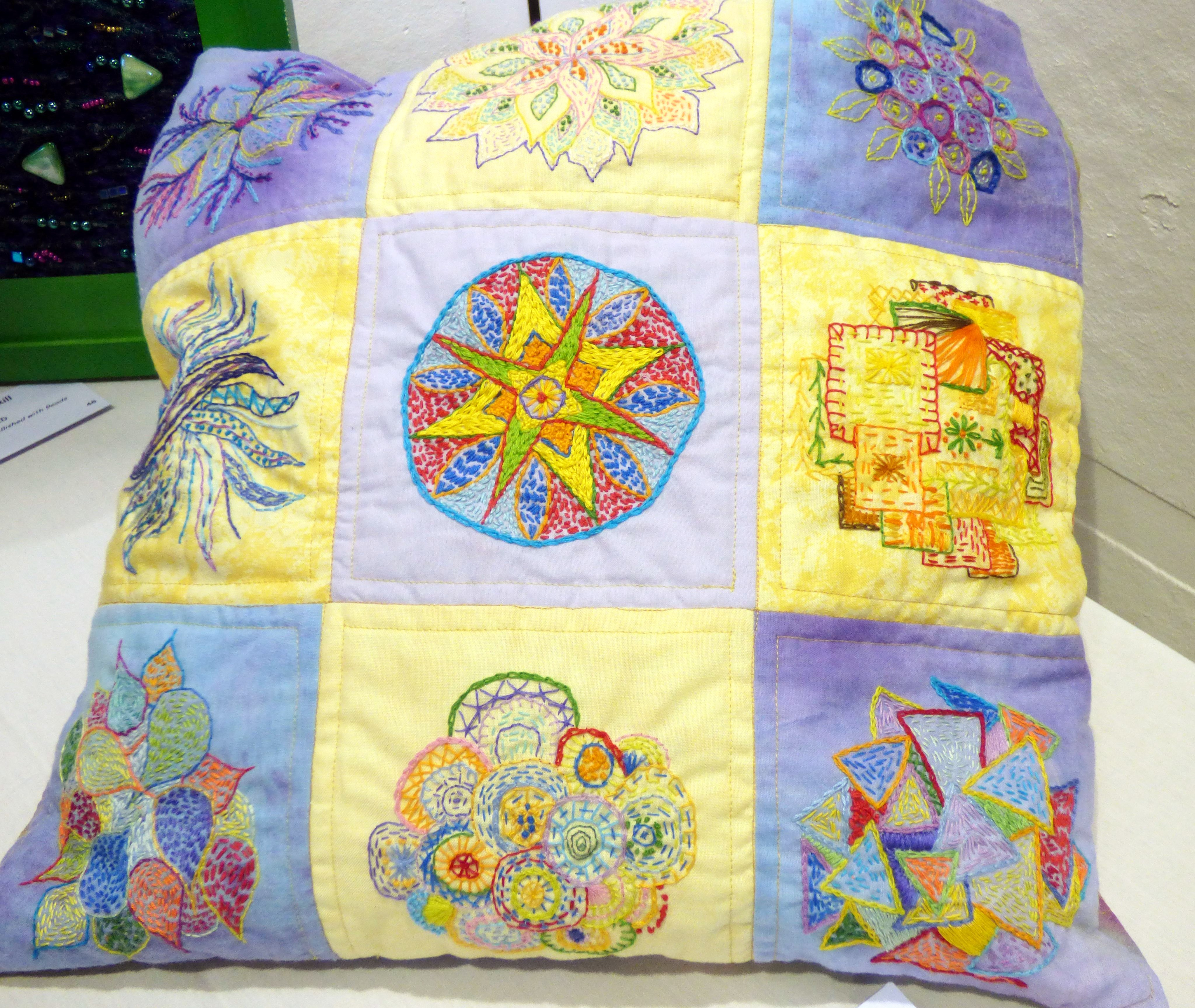 FOUR SEASONS SHOPPING BAG by Roselie Gardner, N.wales EG, patched & quilted with hand embroidery