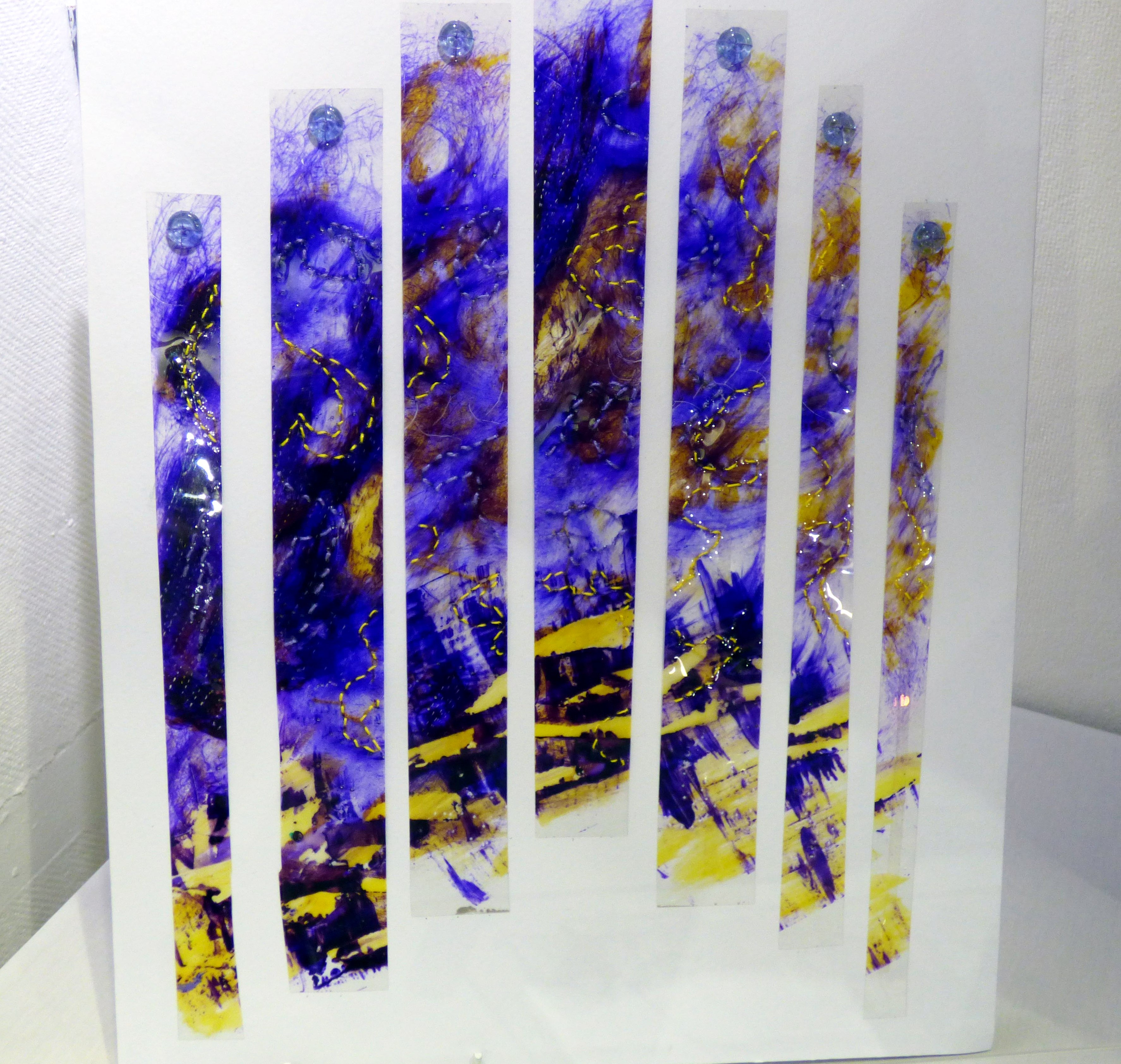 MOUNTAIN COLOURS by Pamela Headon, N.Wales EG, mixed media with hand stitch