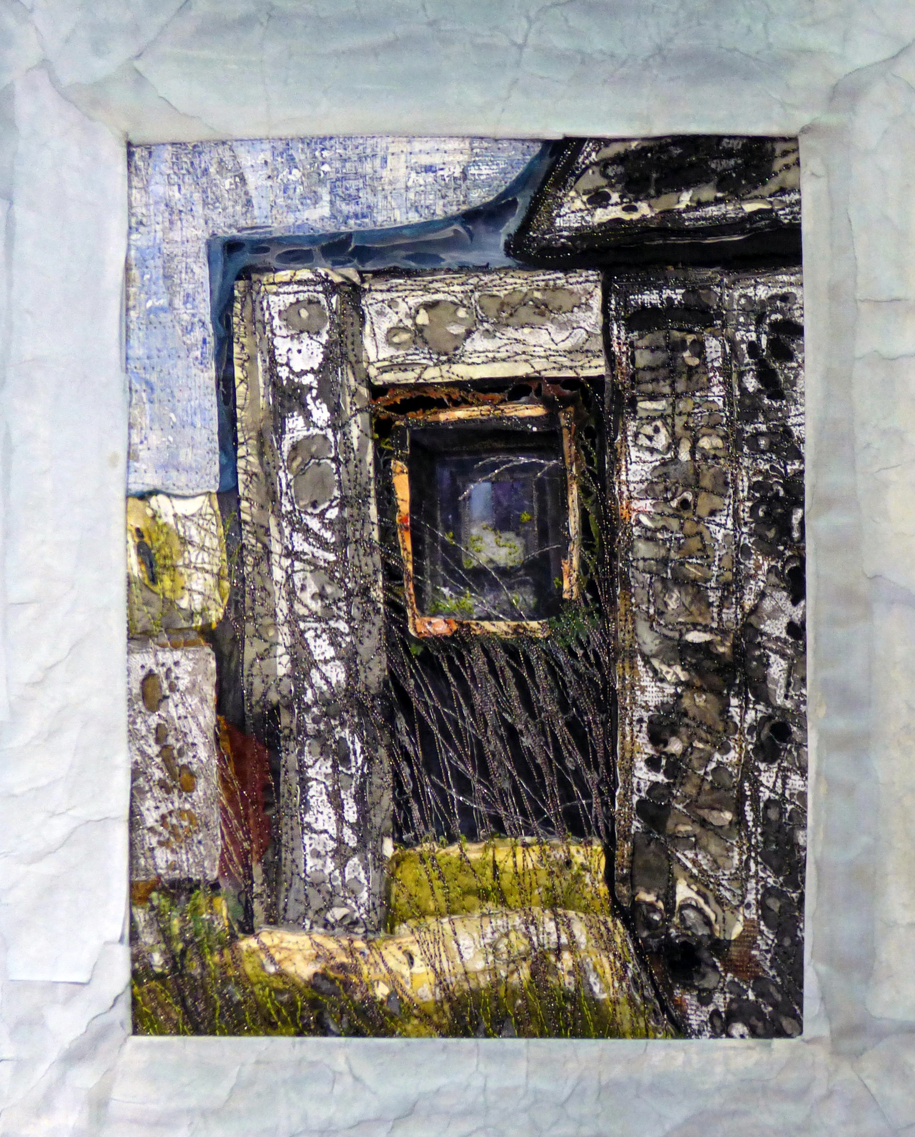 RHYDYMWYN; LOOKING THROUGH by Alison Corfield, N.Wales EG, machine embroidererd mixed media