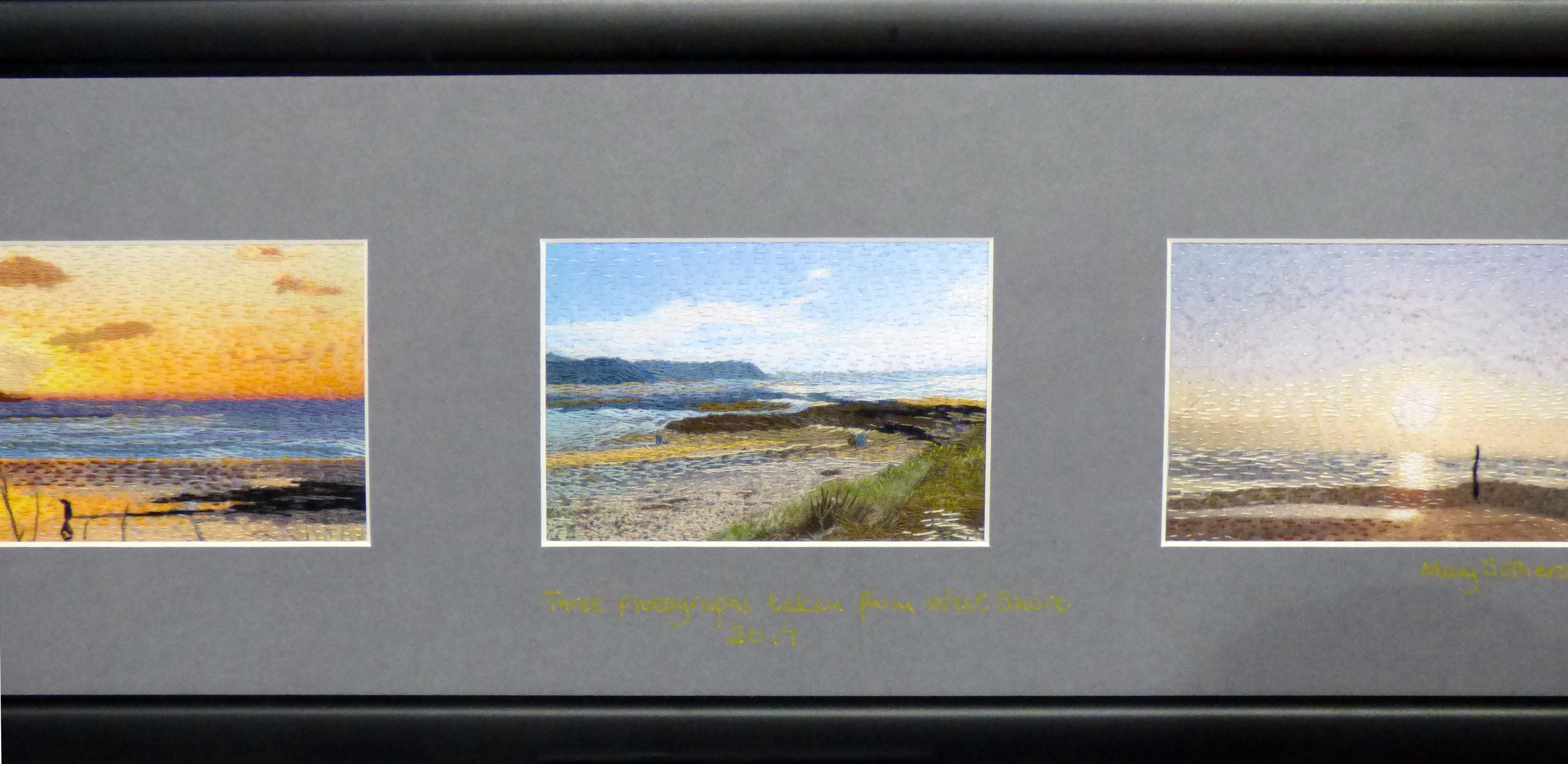 VIEWS OF WEST SHORE TRIPTYCH by Mary Sotheran, N.Wales EG, hand embroidery