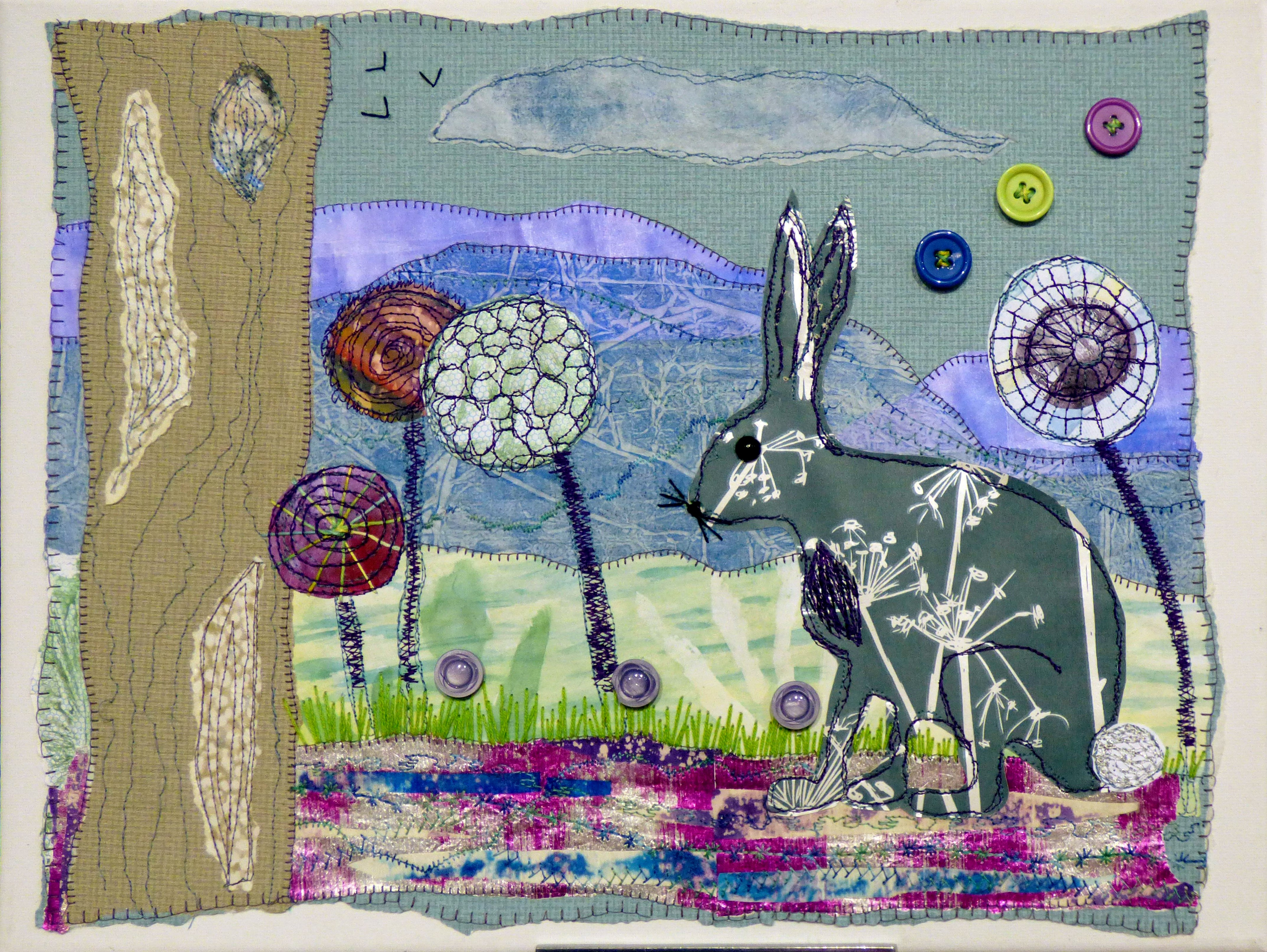 HAIR TODAY AND GONE TOMORROW by Roselie Gardner, N.Wales EG, hand & machine stitched embellished paper collage