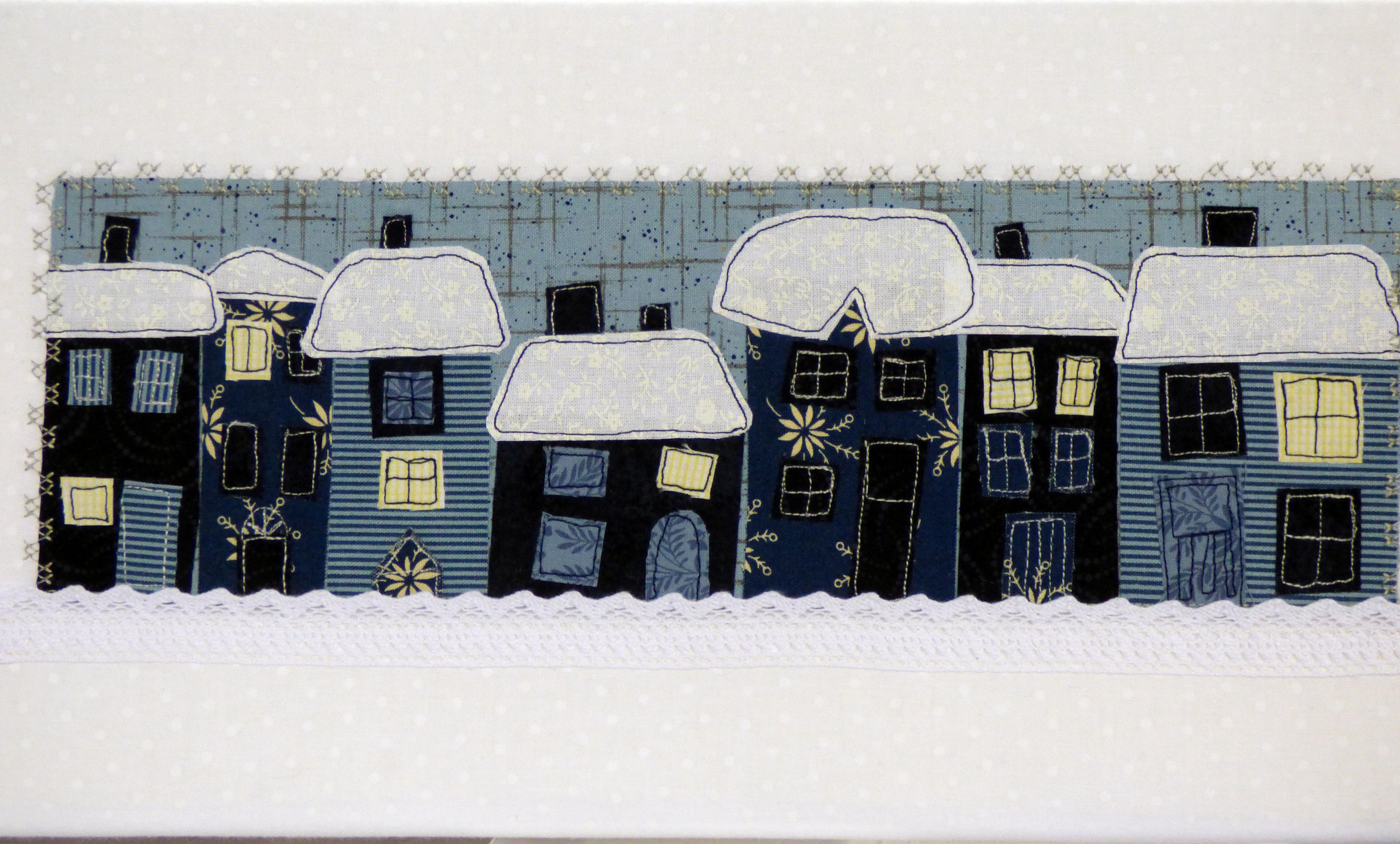 SNOWY NIGHT by Ruth Smith, N.Wales EG, raw edge free machine embroidery on vintage fabric