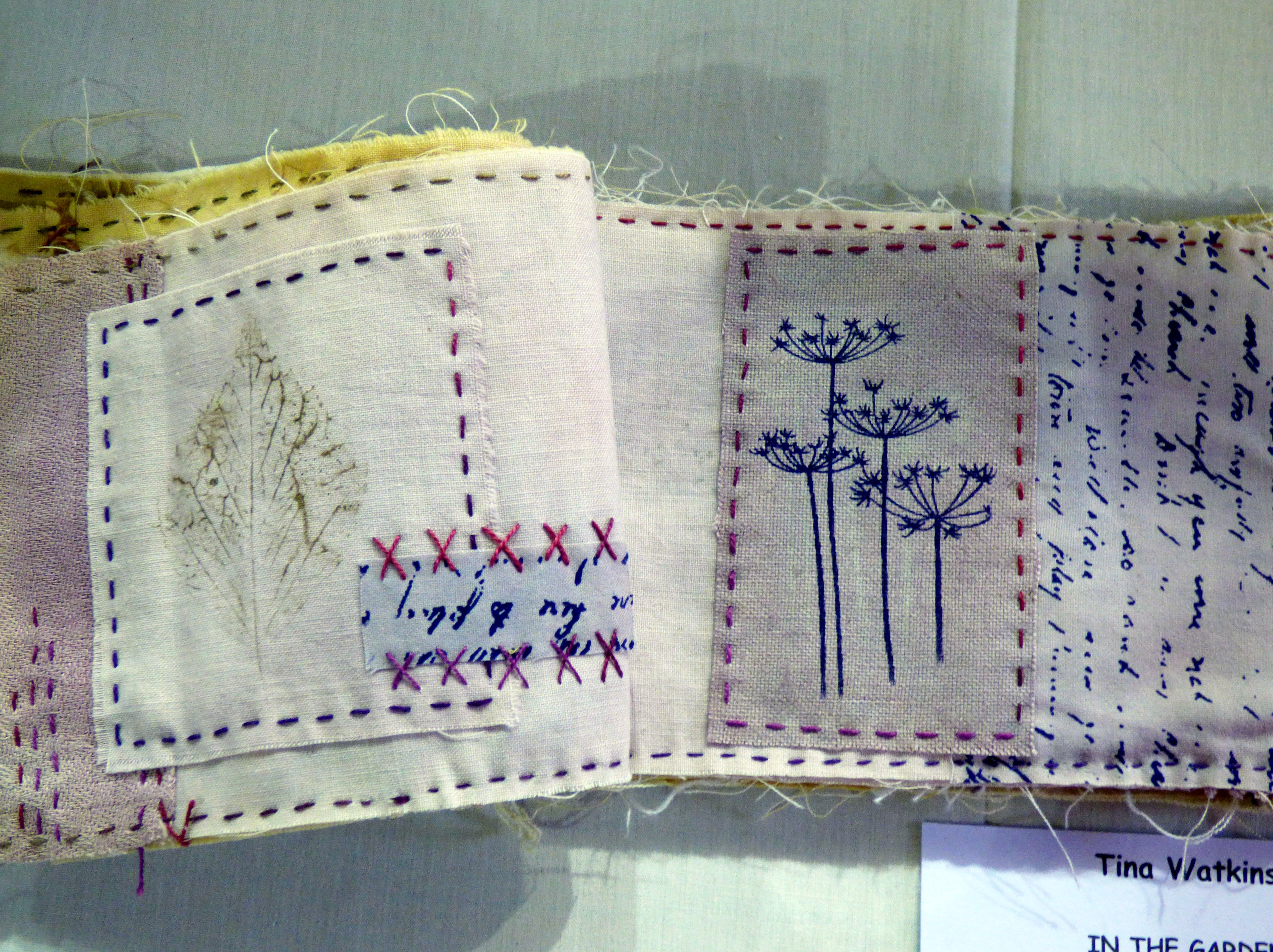 IN THE GARDEN by Tina Watkins, N.Wales EG, experimental textiles