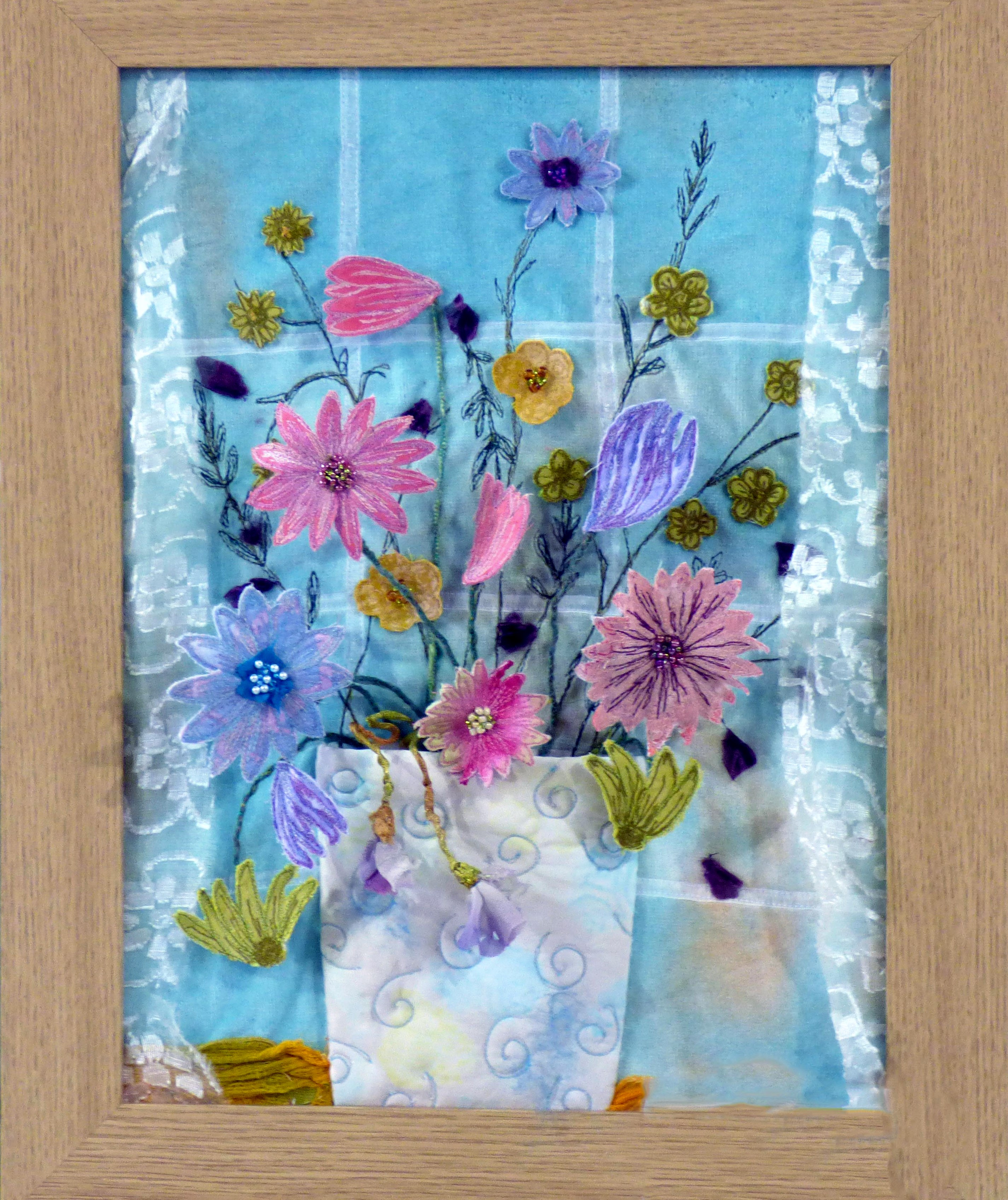 FLOWERS IN THE WINDOW by Marilyn Smith, N.Wales EG, free machine embroidery