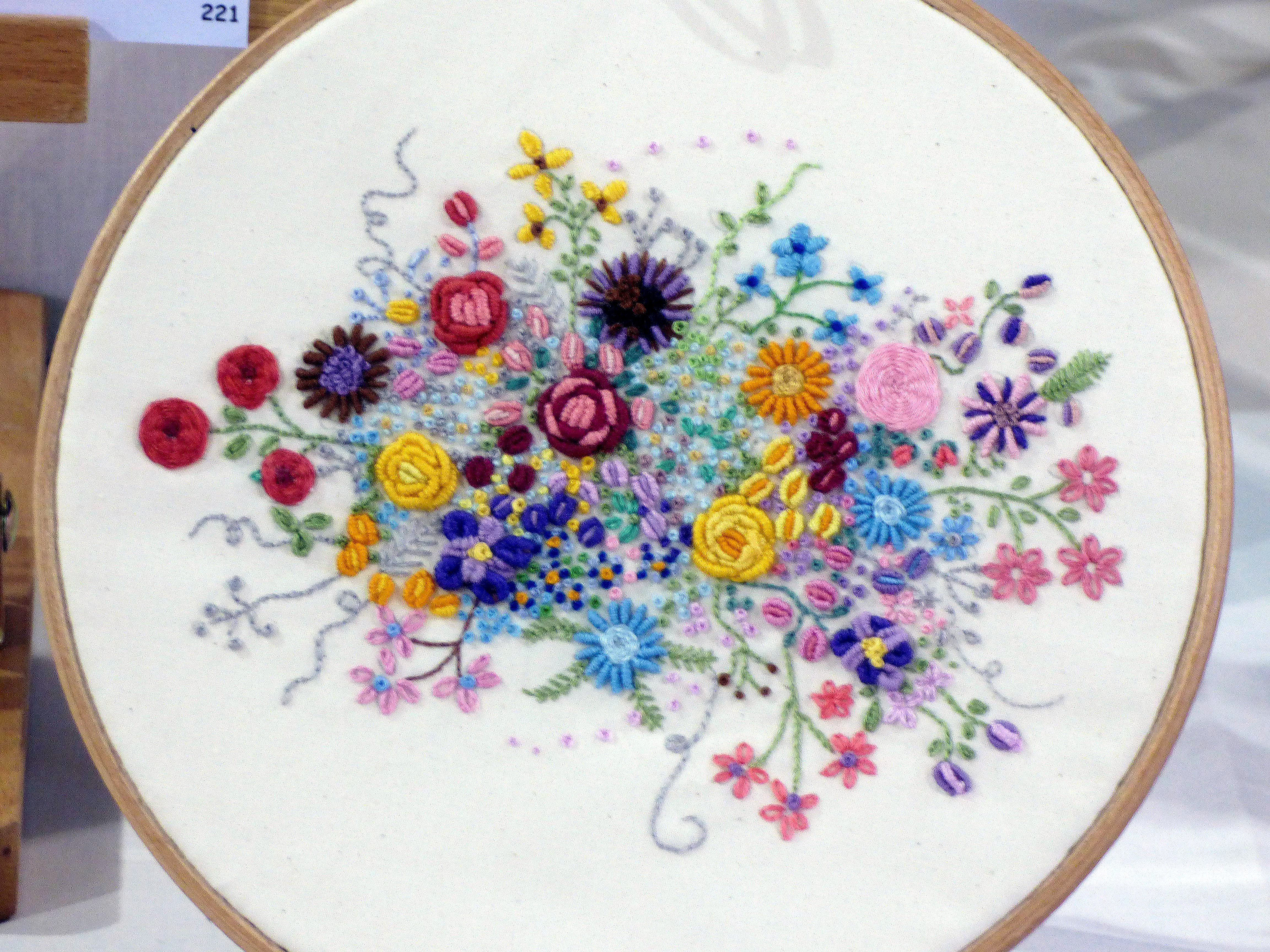ROUND THE GARDEN by Beryl Stafford, N.Wales EG, hand embroidery