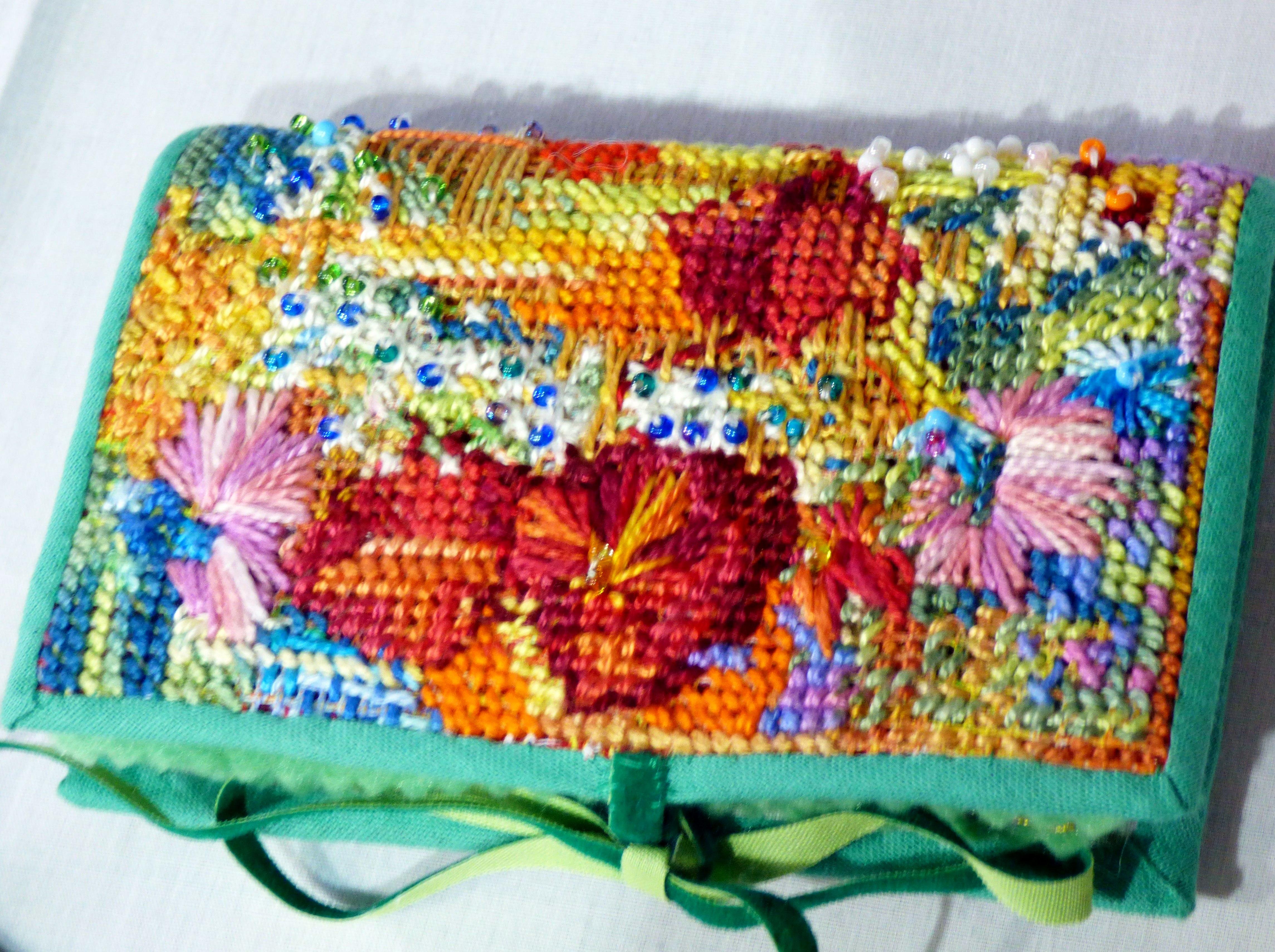 TRELLIS AND FLOWERS NEEDLECASE by Jannette Nicholas, N.Wales EG, embellished needlepoint on canvas