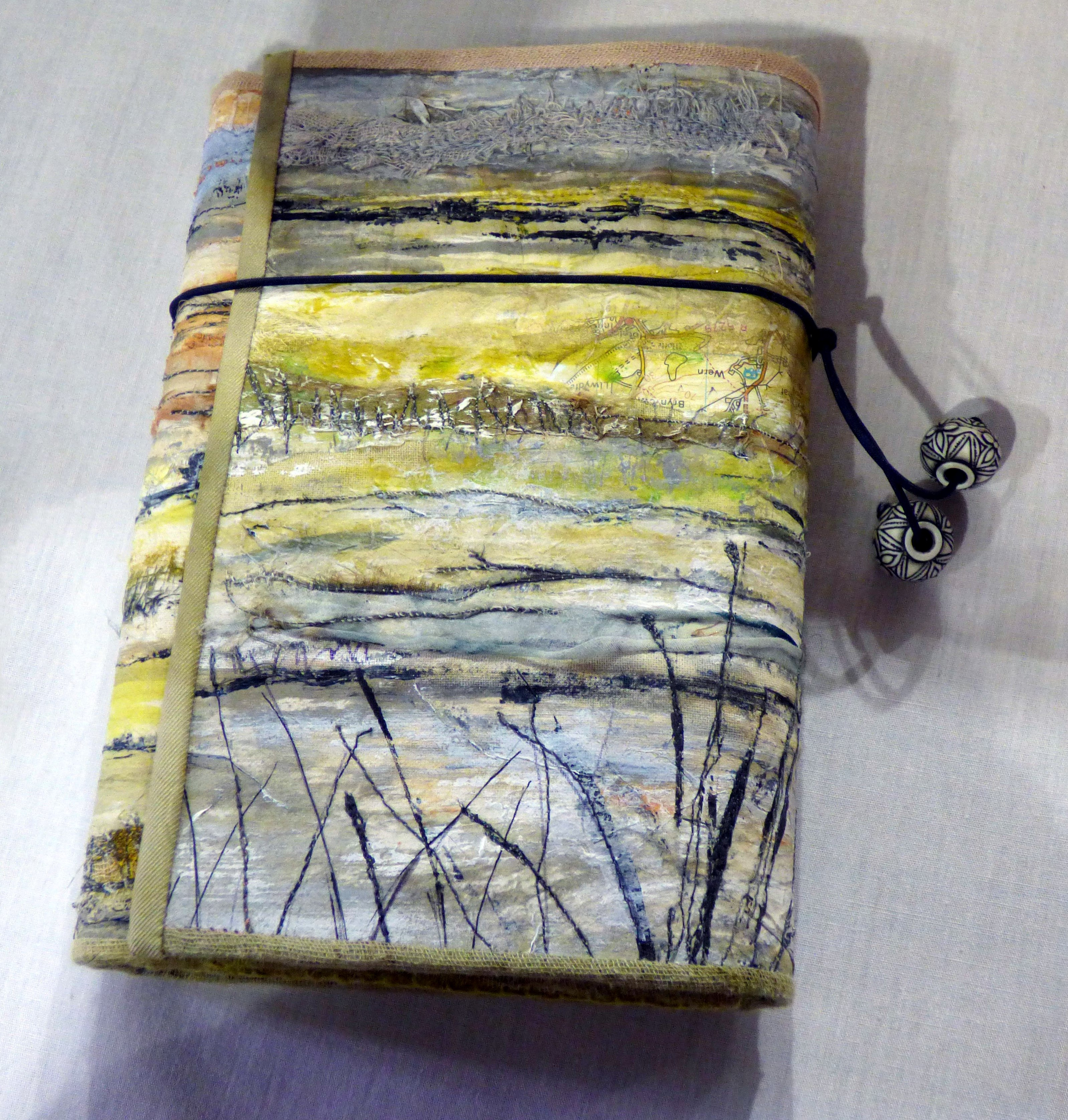 BOOK COVER by Miriam Forder, N.Wales EG, mixed media and stitch