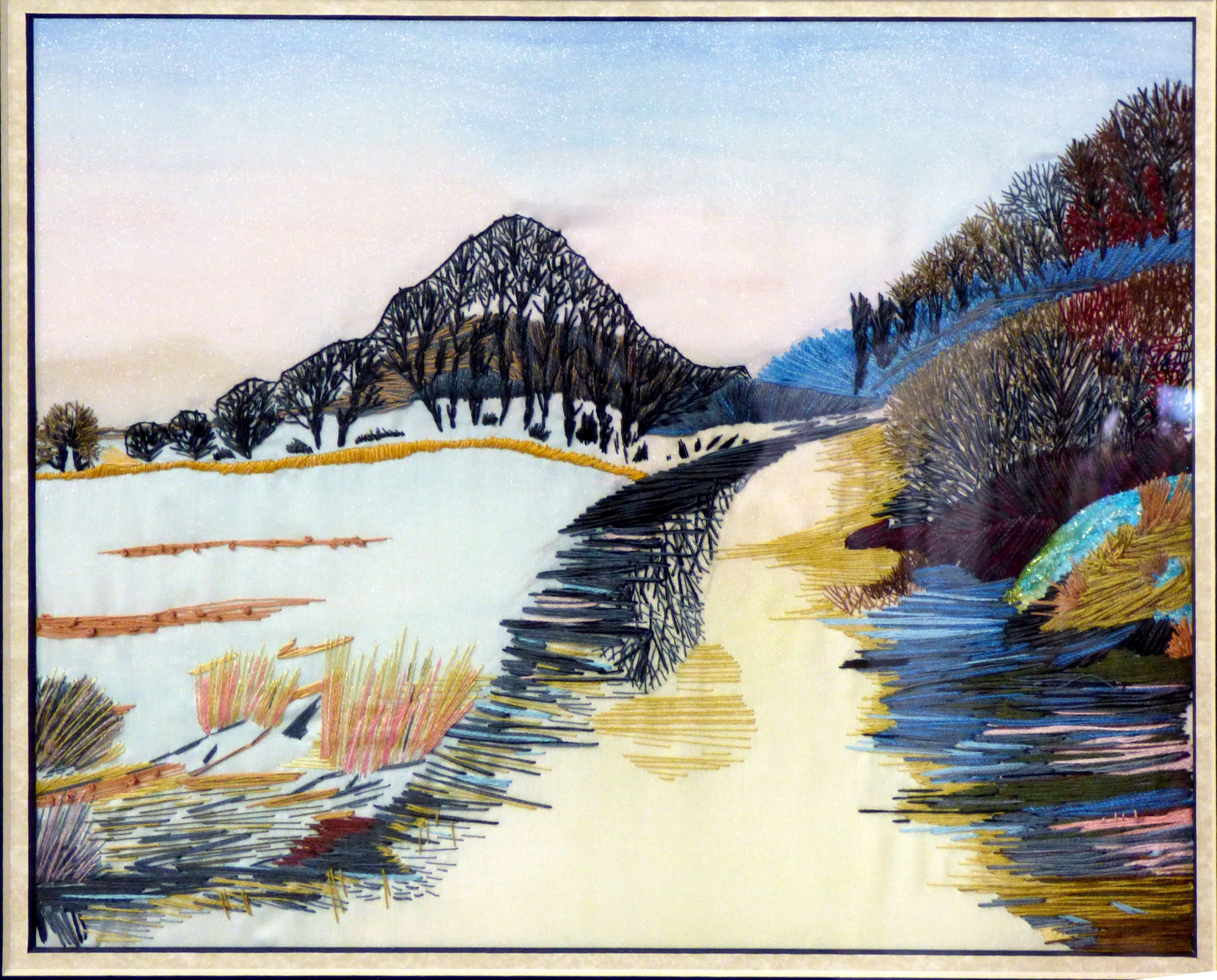 LAKESIDE COLOURS by Linda Horden, N.Wales EG, hand embroidery on silk