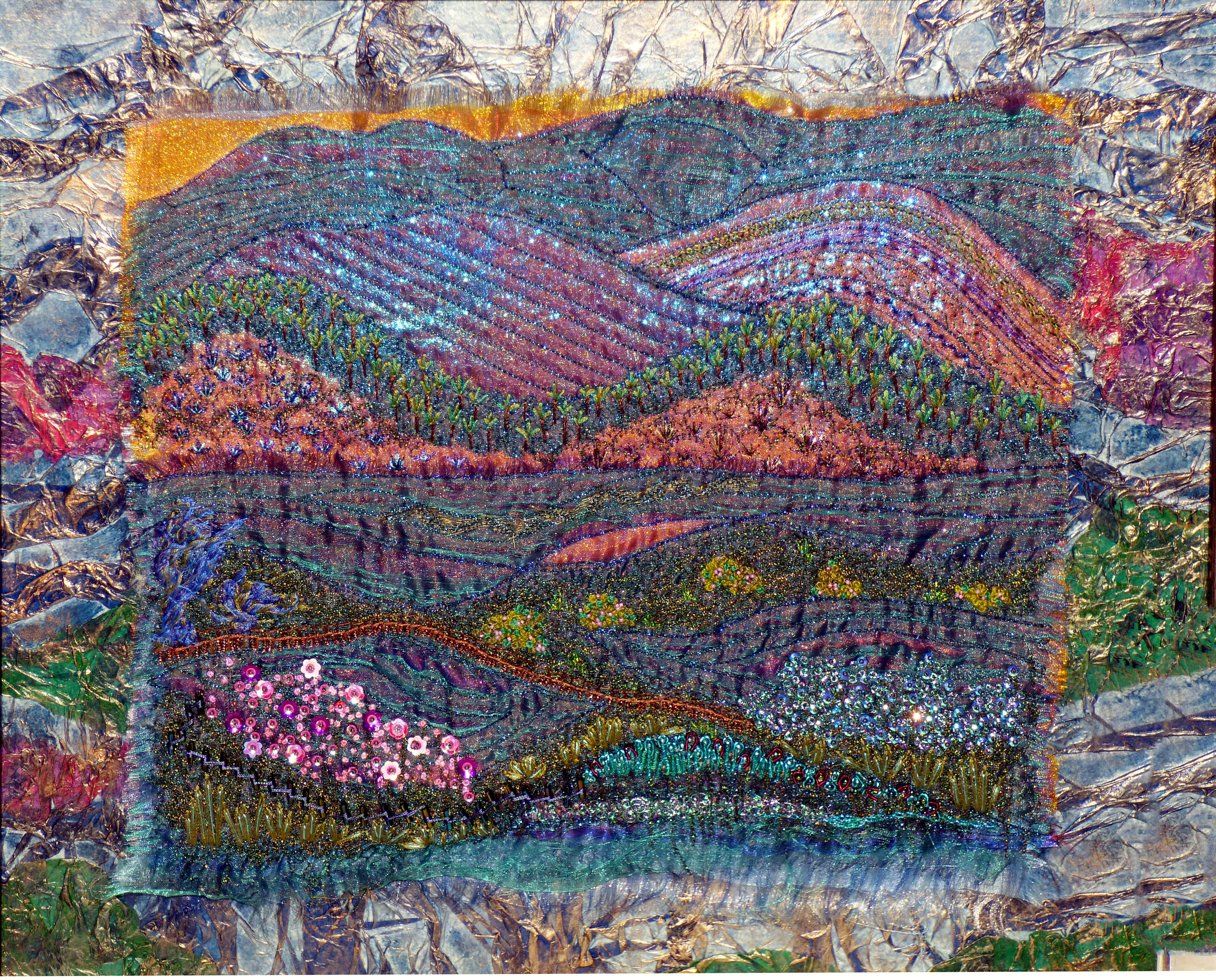 SNOWDONIA by Wendy Cartwright, N.Wales EG, mixed media mounted with tissue paper