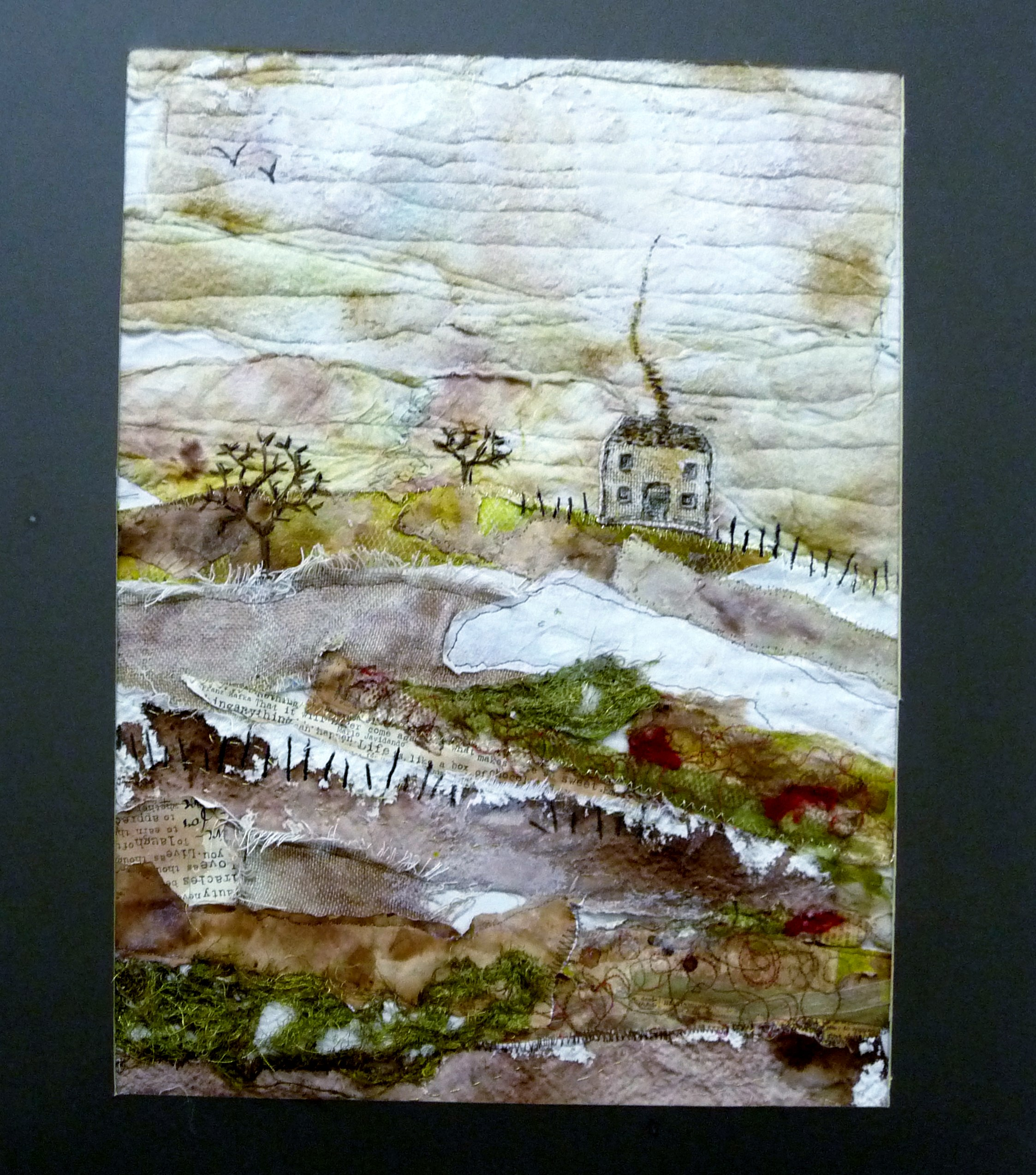 HOUSE ON THE HILL,  embroidery by Liz Leadbetter