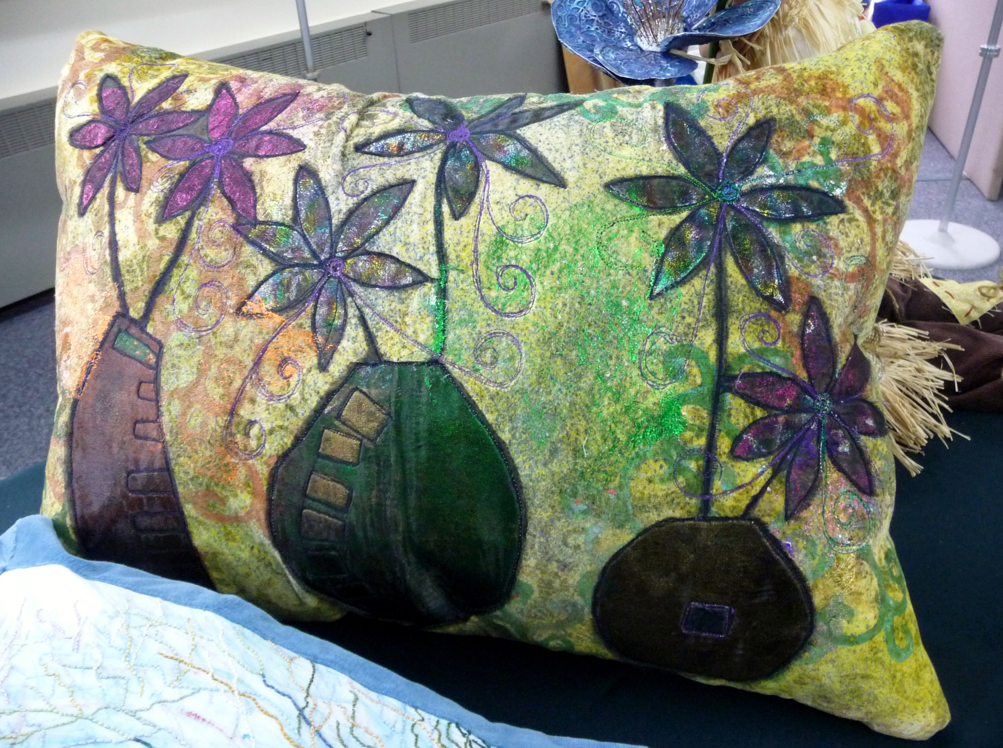 embroidered cushion by Janet Watson