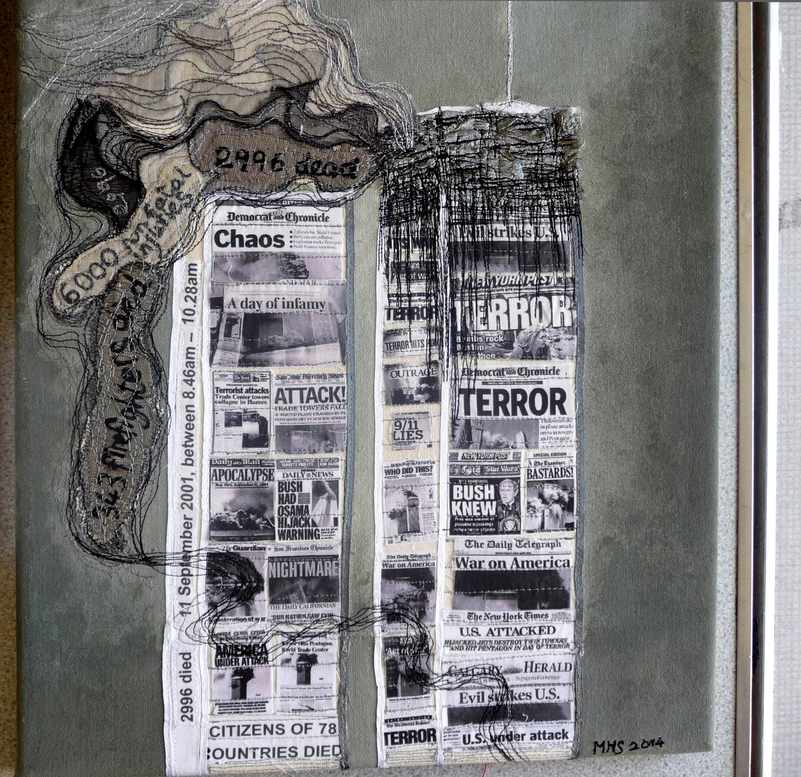 NINE ELEVEN by Marie Stacey, machine embroidery and collage