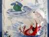 OUT OF HIS DEPTH IN THE RIVER TEIFE by Marie Stacey, machine embroidery with painted detail
