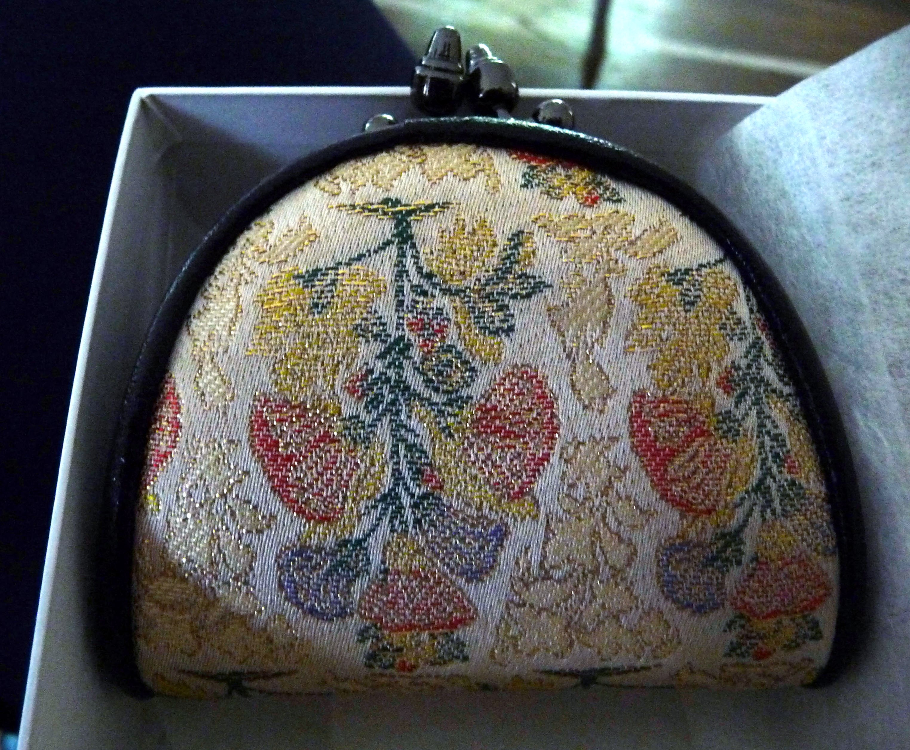 "small purse made with ""meibutsu"" famous  woven silk cloth of Arimatsu, Narumi, Japan"