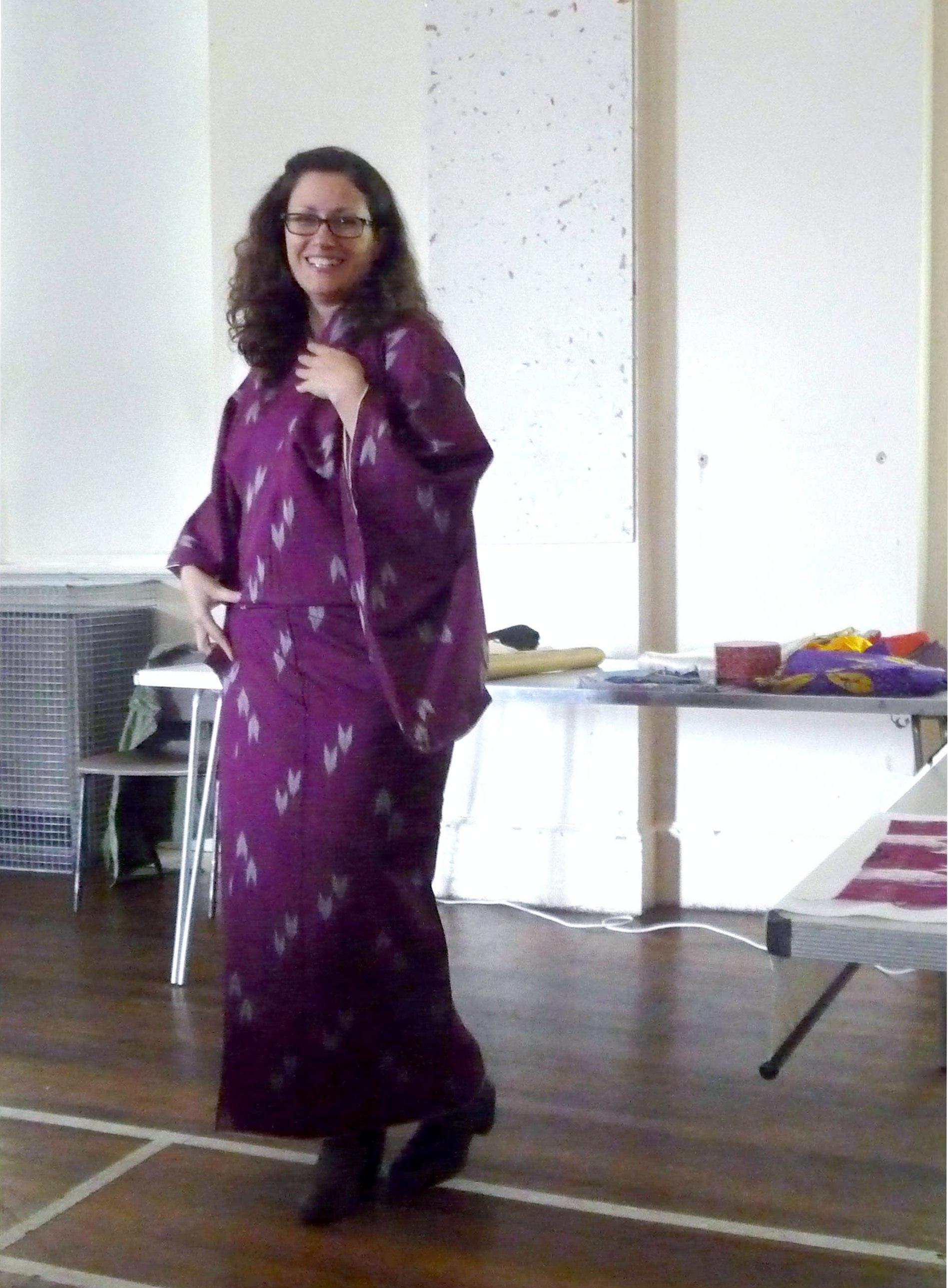 """Katie Chaplin modelling a """"meisen"""" design kimono"""
