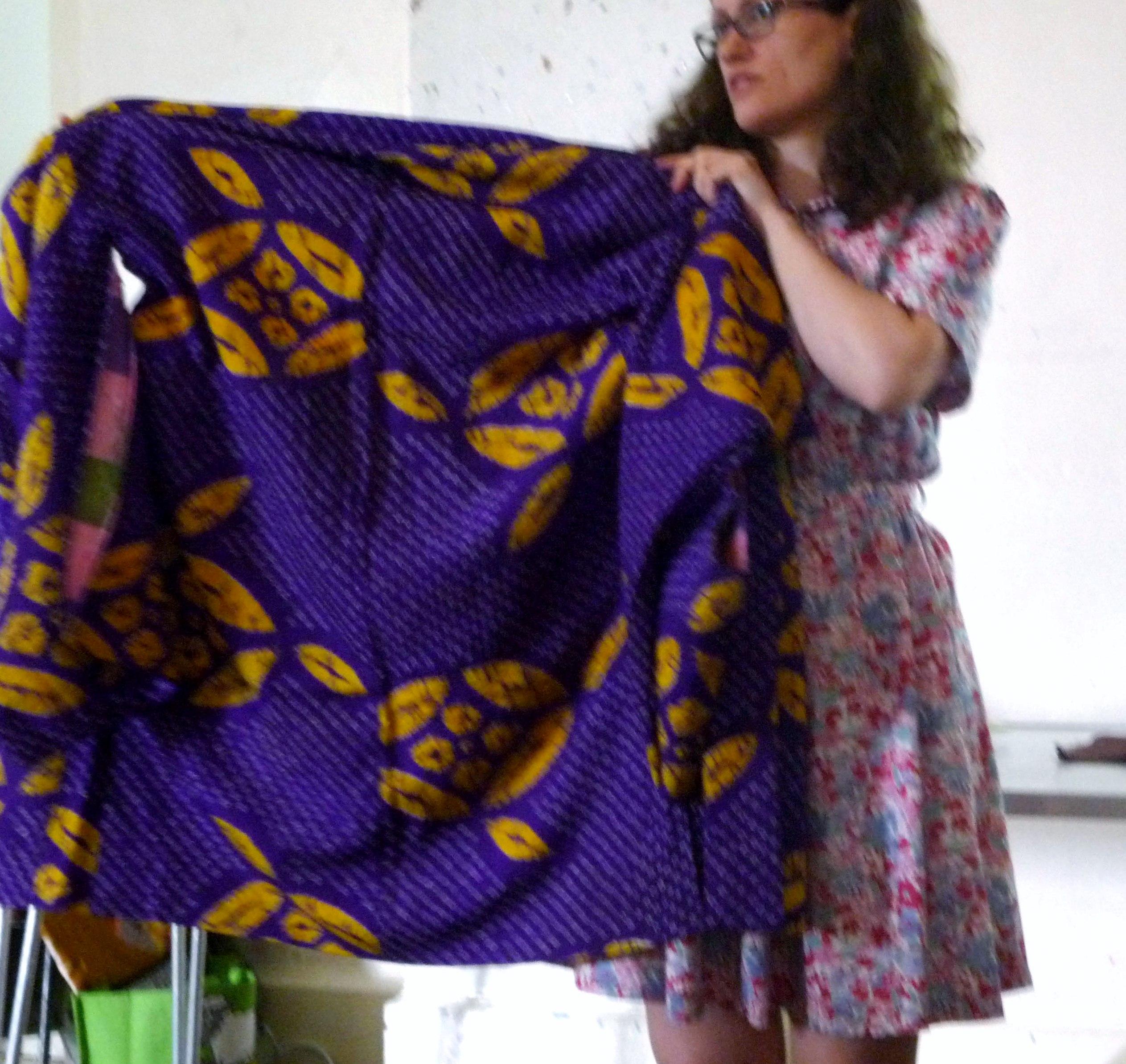 Katei Chaplin showing us a Japanese shibori textile