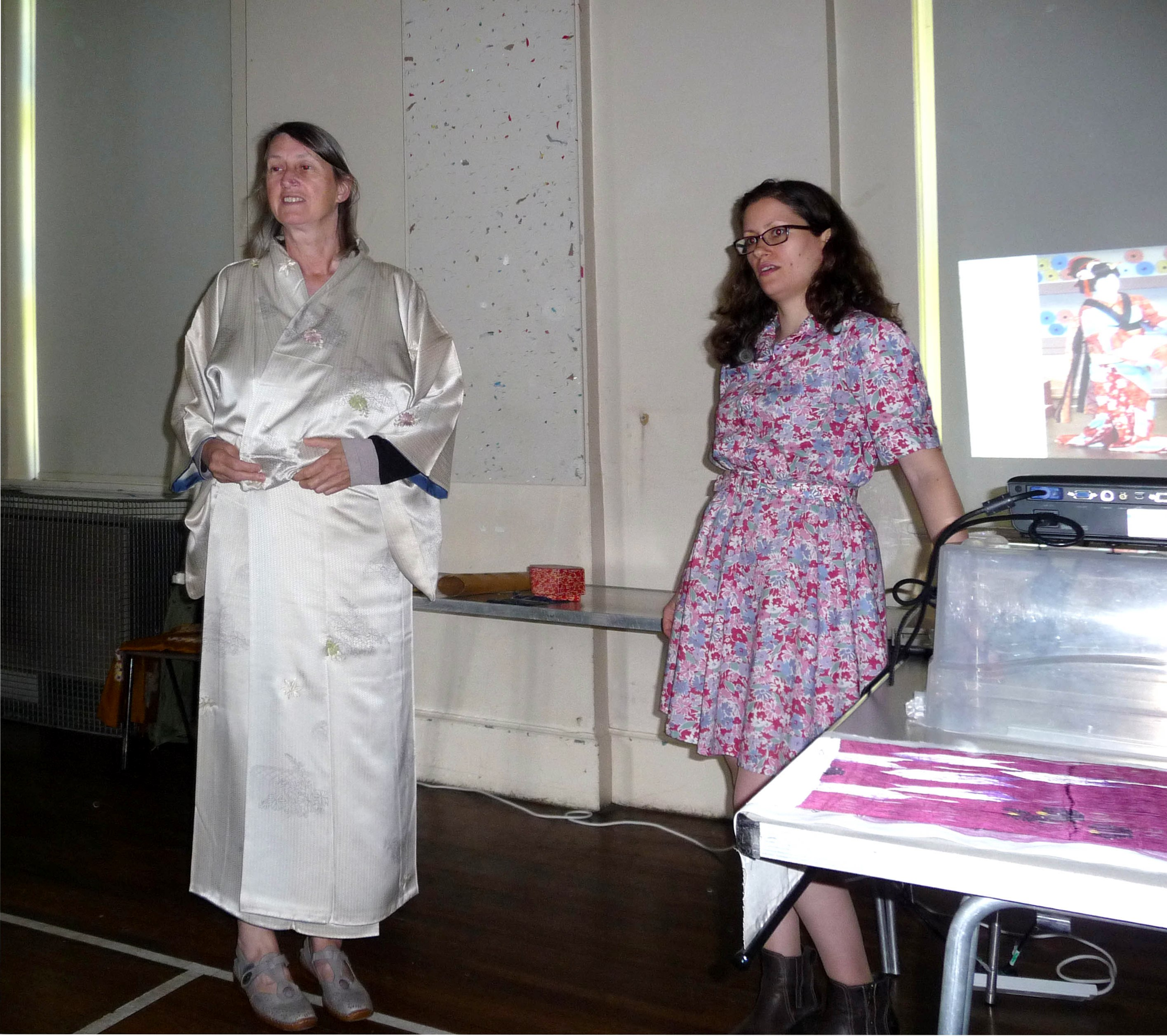 Helen Patrick modelling a kimono with Katie Chaplin at Japanese Day 2014