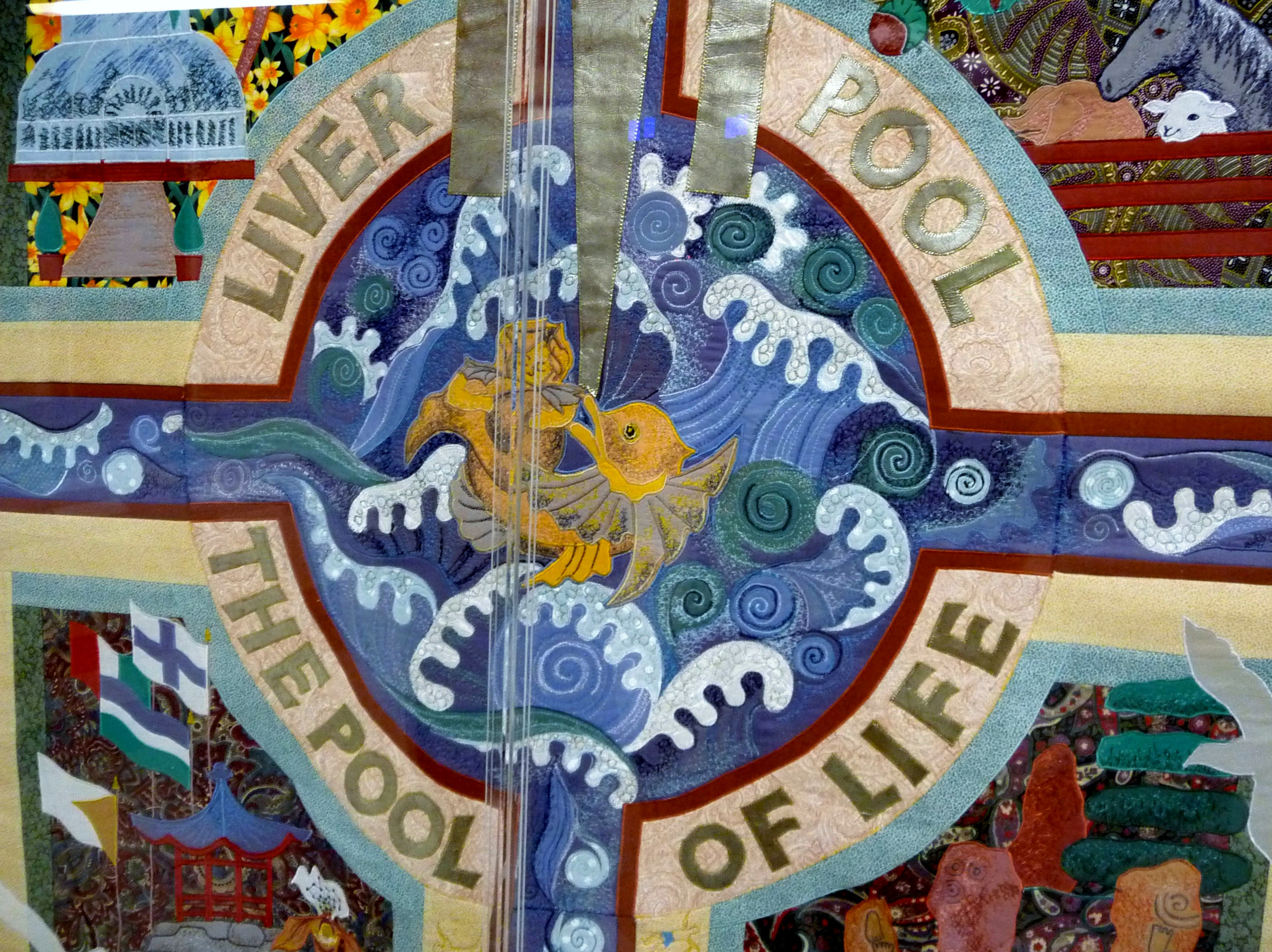 "detail of ""The Pool of Life Wall Hanging"" by Norma Heron, 1995"