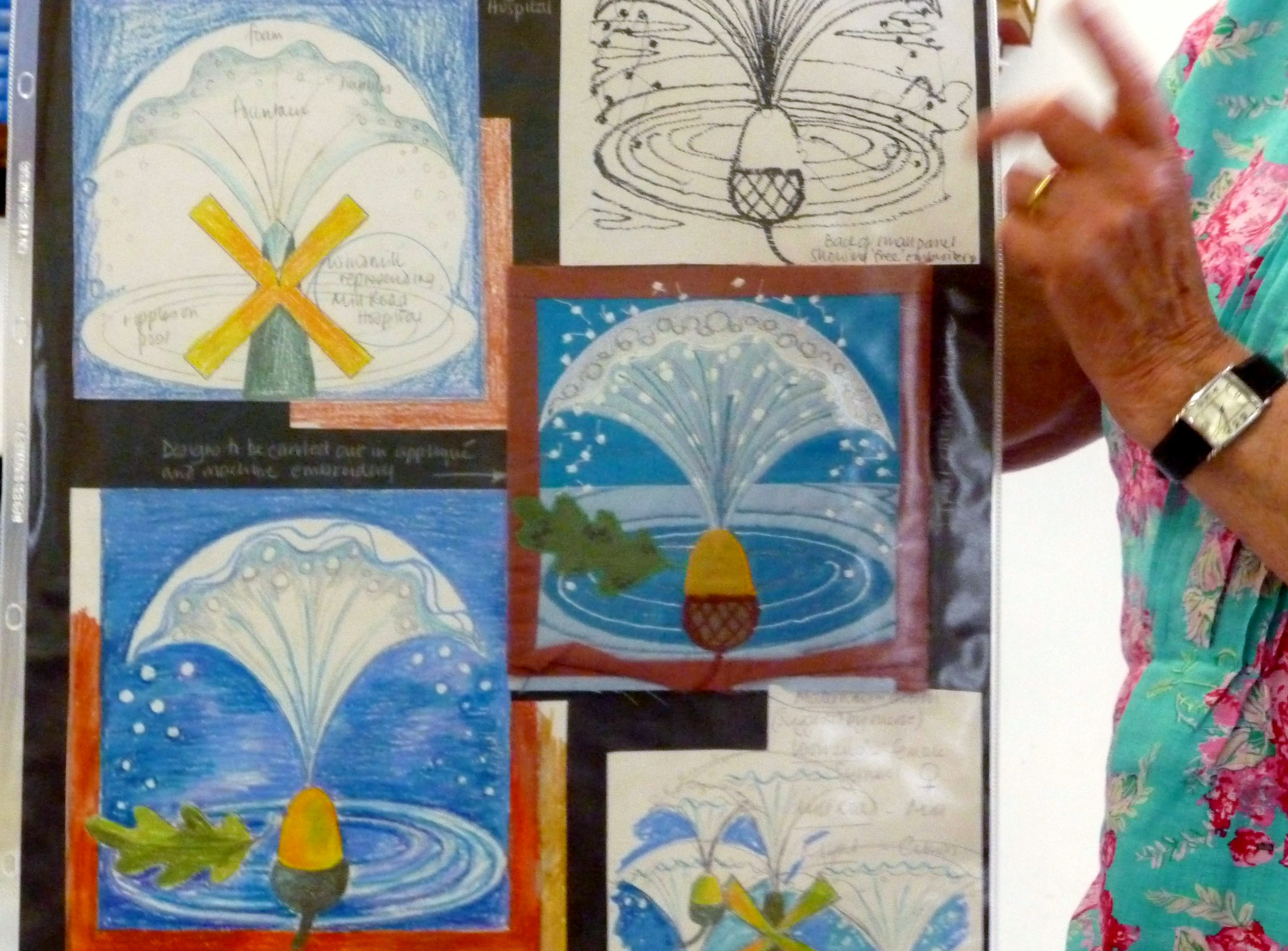 a design sheet Norma Heron used in planning THE POOL OF LIFE embroidered hanging, 1995