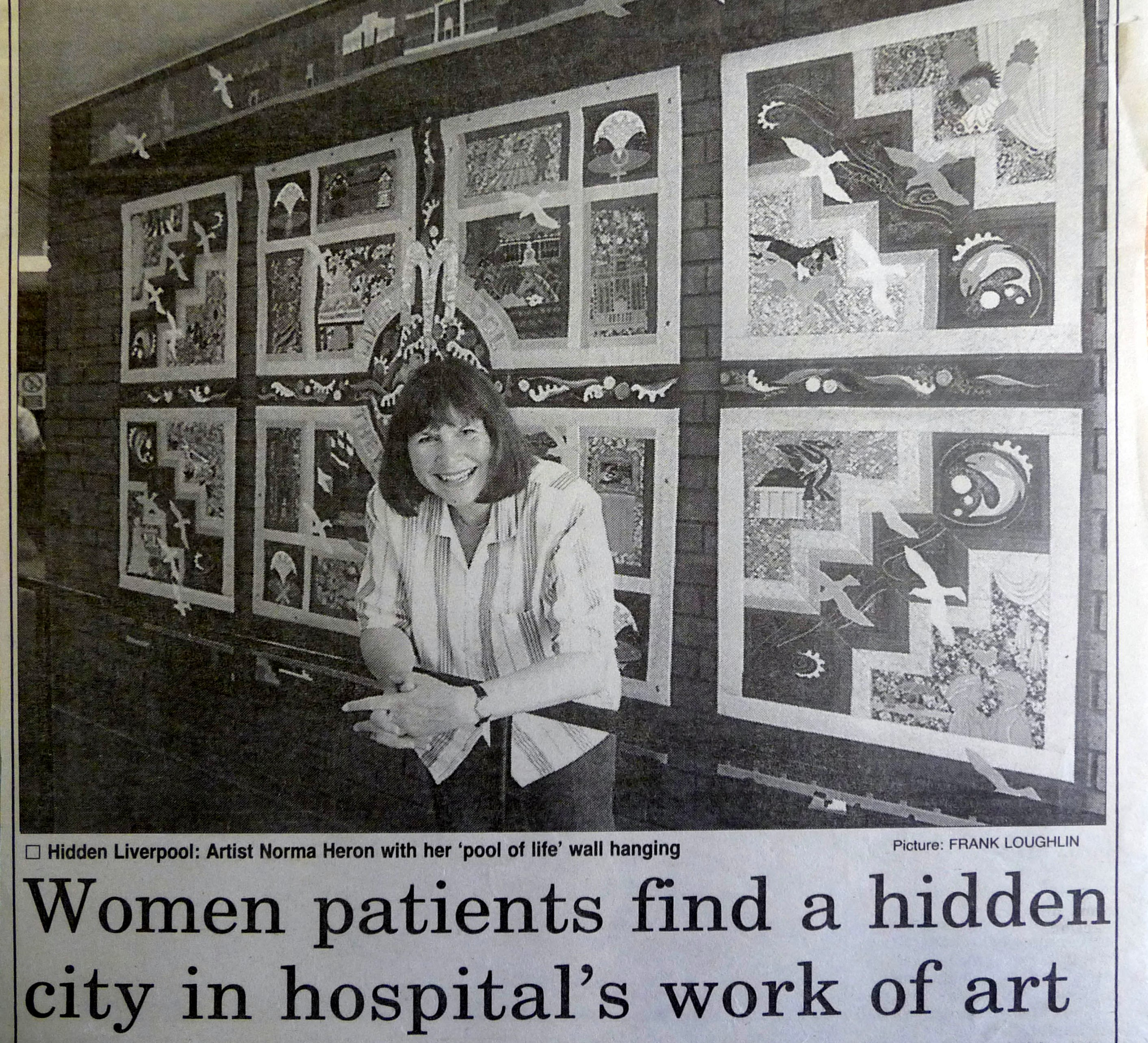1995 newspaper cutting showing Norma Heron at the launch of her POOL OF LIFE embroidered hanging