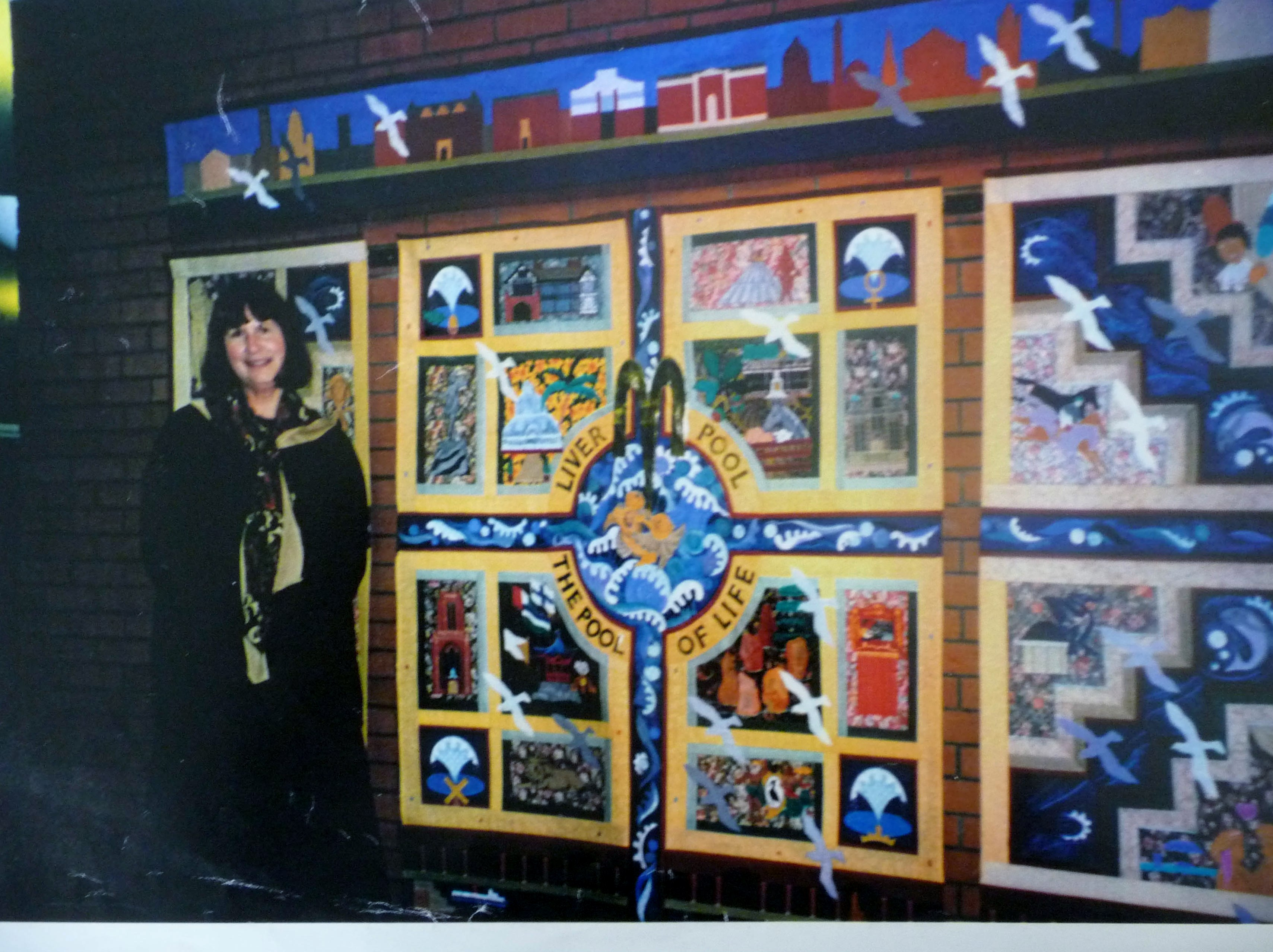 Norma Heron at the launch of the POOL OF LIFE embroidered hanging 1995