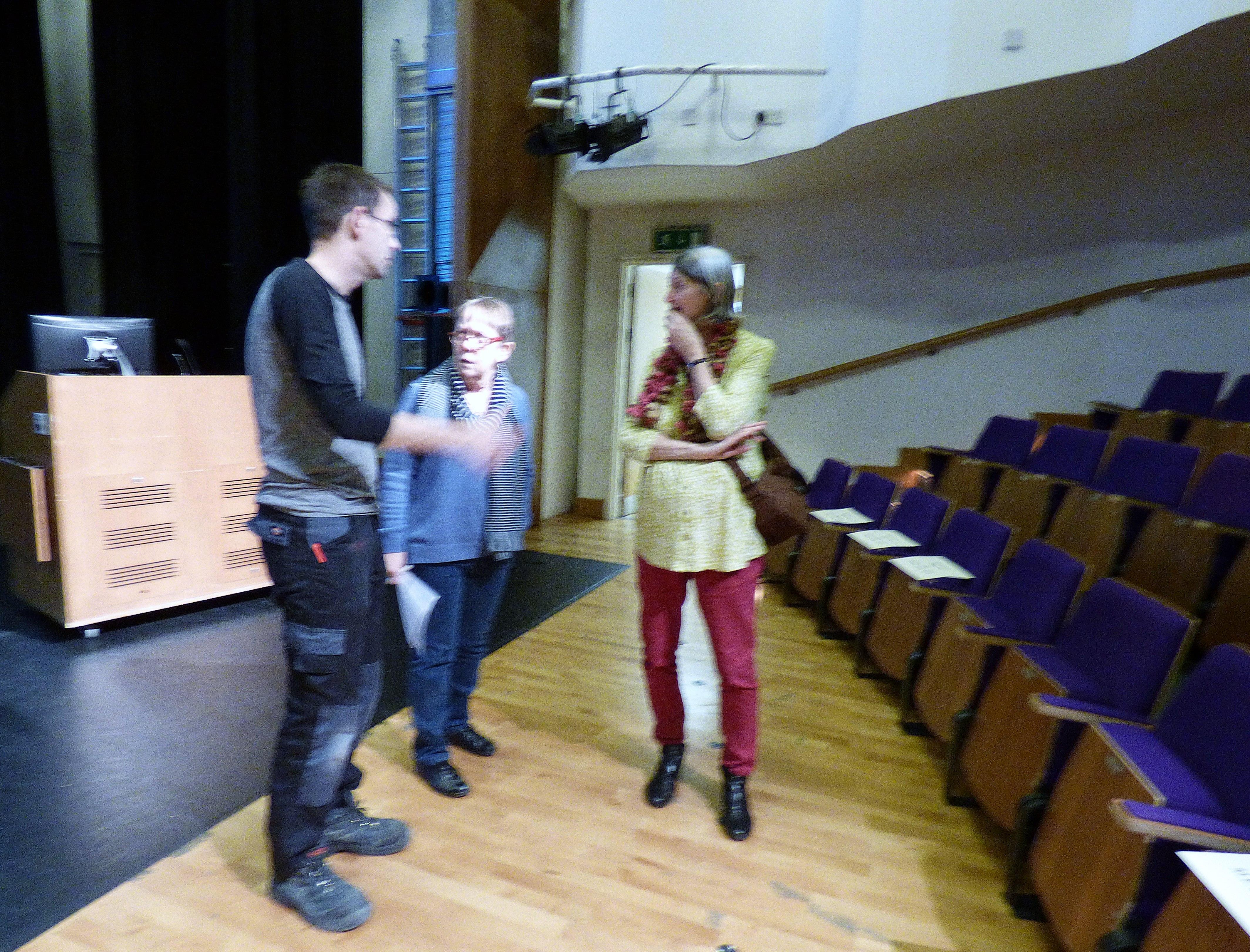 Marie and Helen with Jason Jones at Kaffe Fassett Lecture, Capstone Theatre, Dec 2016