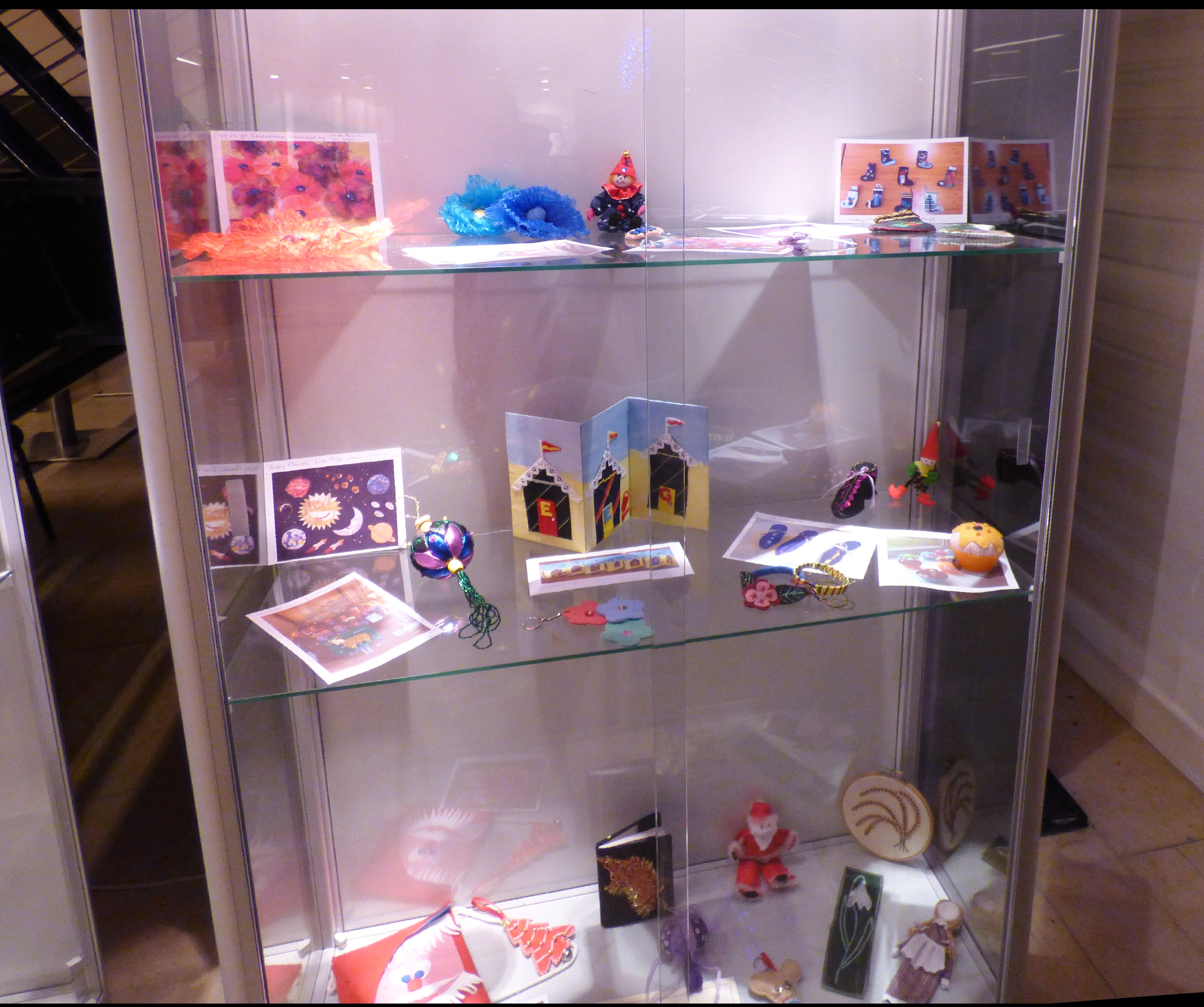 Young Embroiderers' work on display at Kaffe Fassett Lecture, Capstone Theatre, Dec 2016