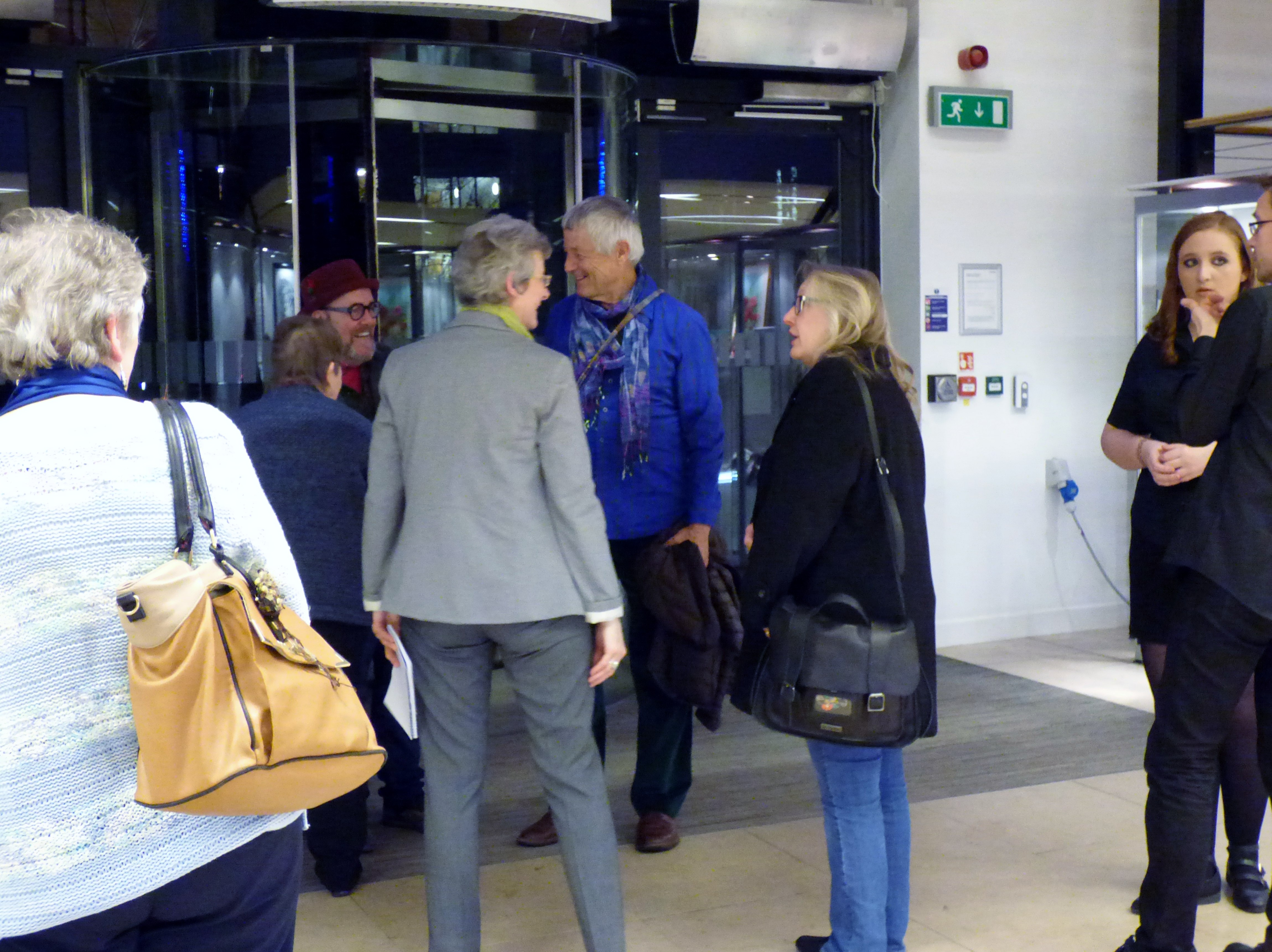 our first glimpse of Kaffe Fassett at Kaffe Fassett Lecture, Capstone Theatre, Dec 2016