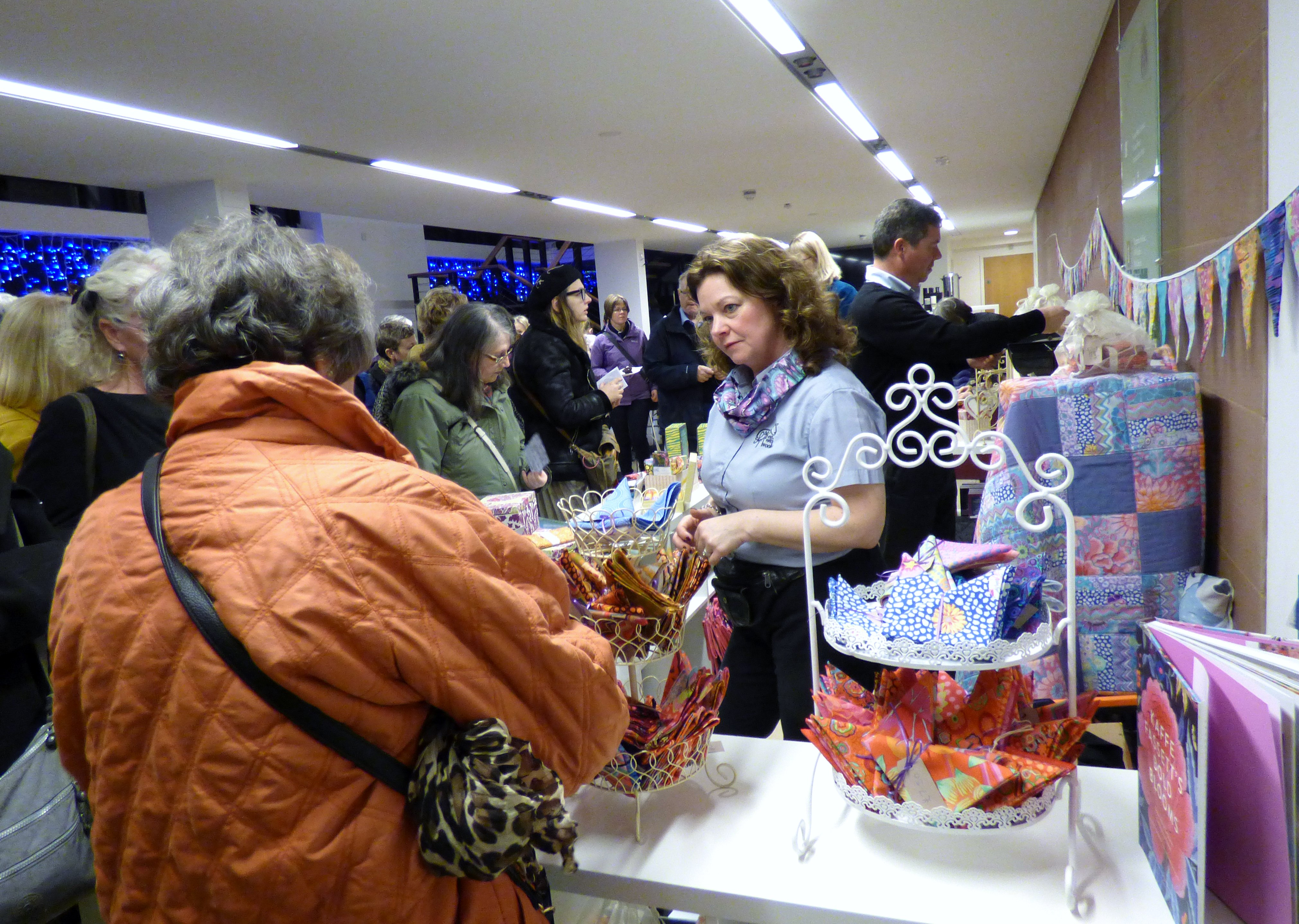 lots of shopping opportunities before the event at Kaffe Fassett Lecture, Capstone Theatre, Dec 2016