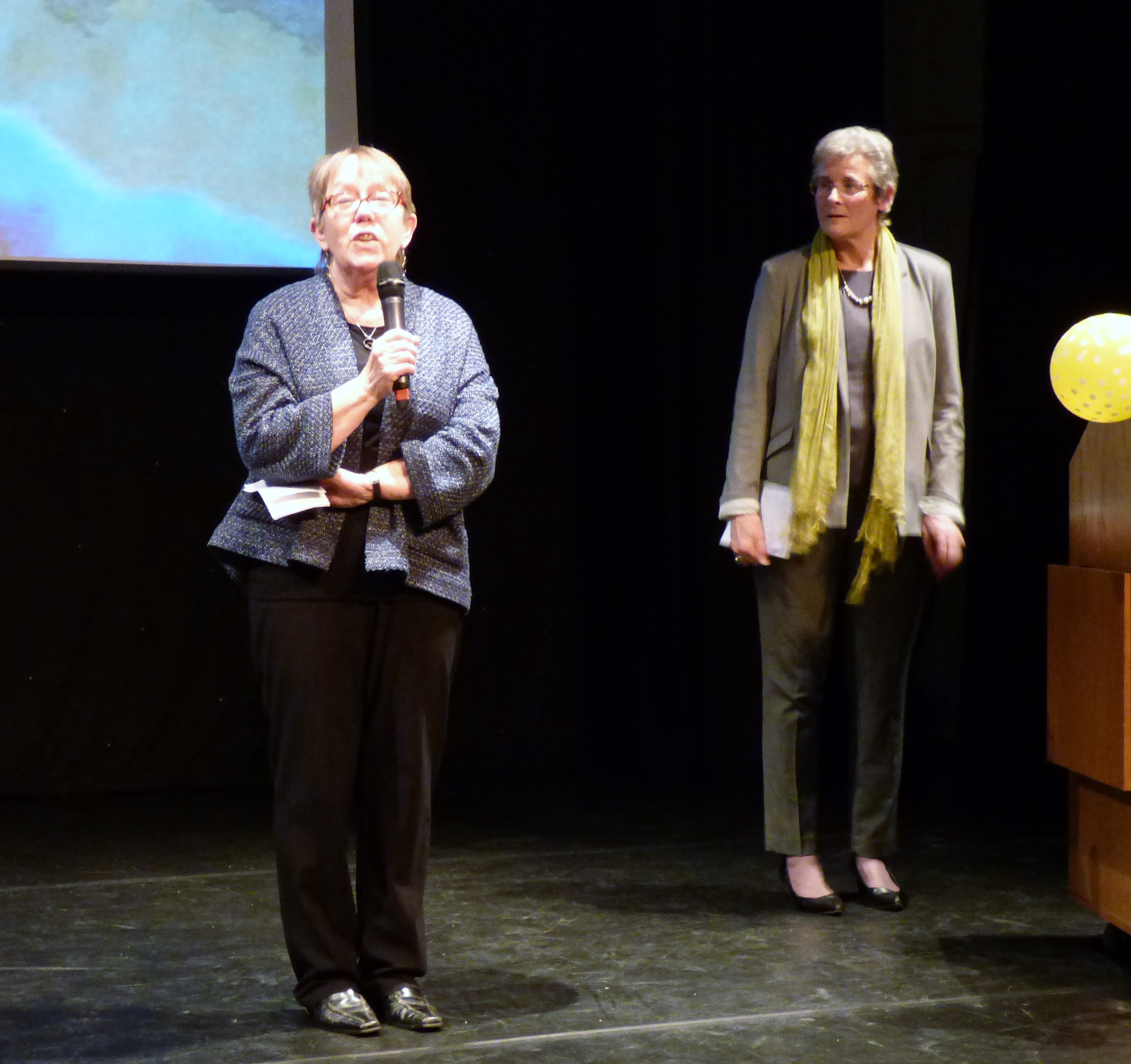 Marie and Kim will introduce Kaffe Fassett and Brandon Mably to the audience at Kaffe Fassett Lecture, Capstone Theatre, Dec 2016