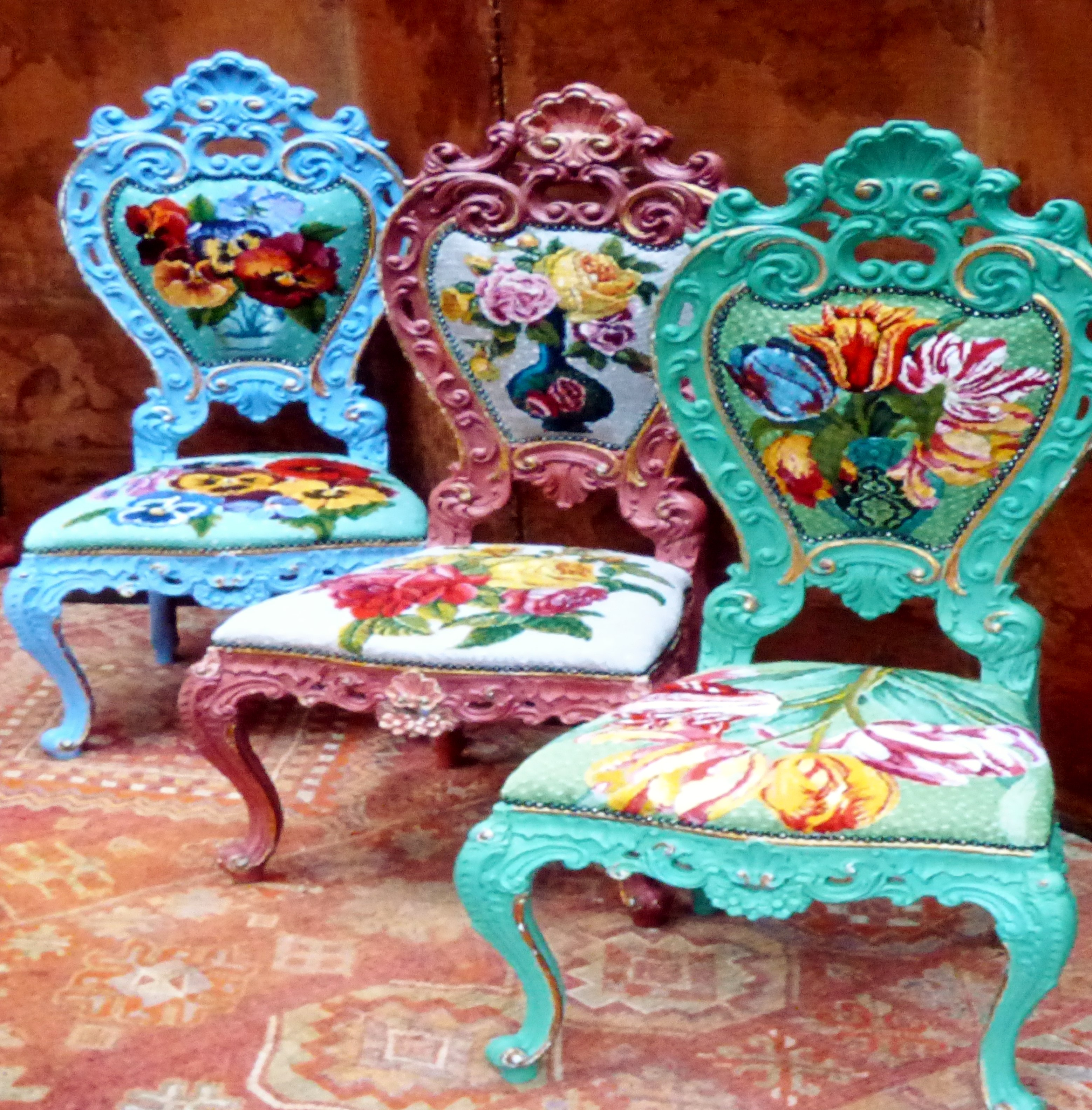 slide showing chairs renovated by Kaffe Fassett, Kaffe Fassett Lecture, Capstone Theatre, Dec 2016
