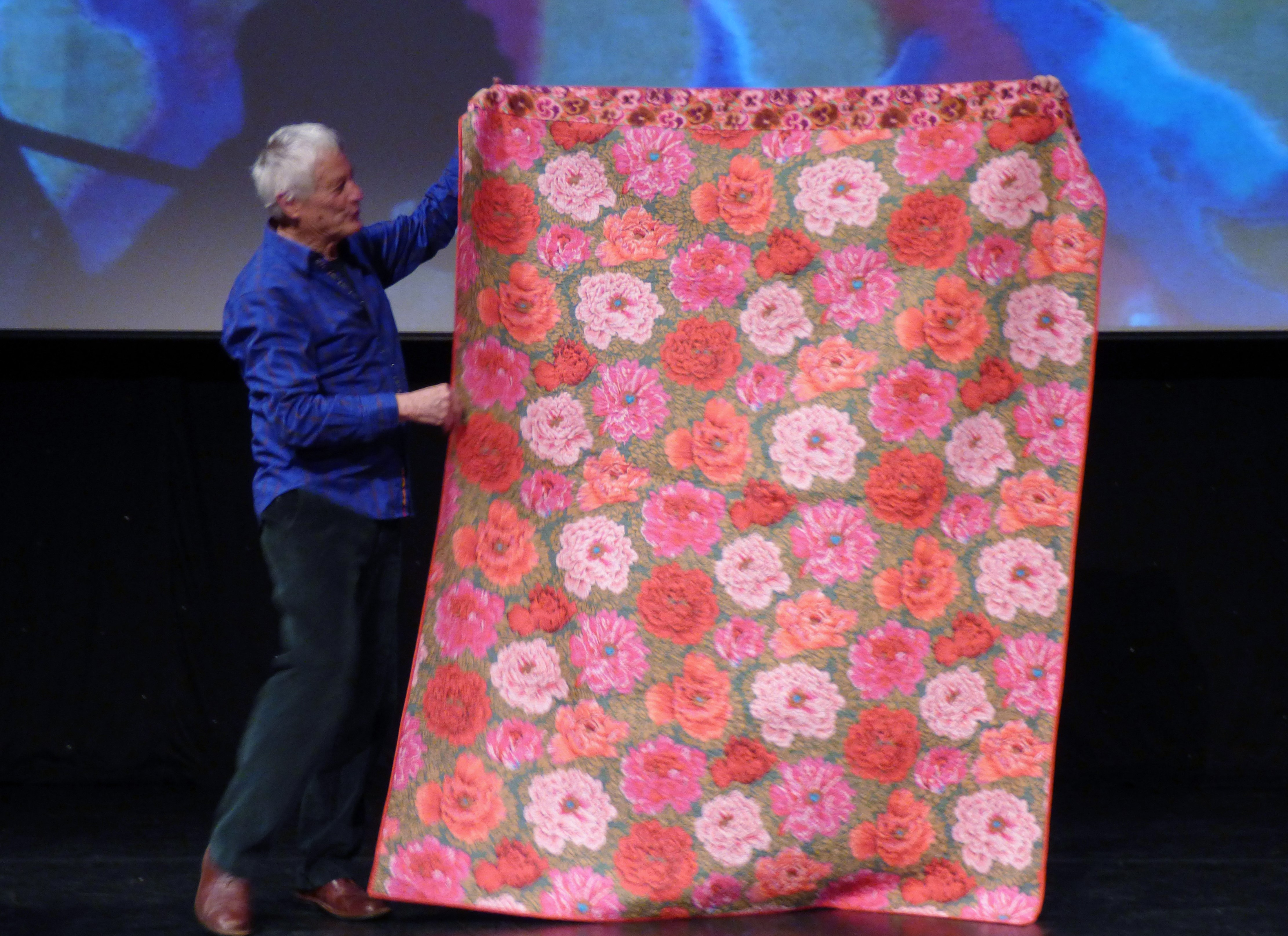 (back of quilt), Kaffe Fassett Lecture, Capstone Theatre, Dec 2016