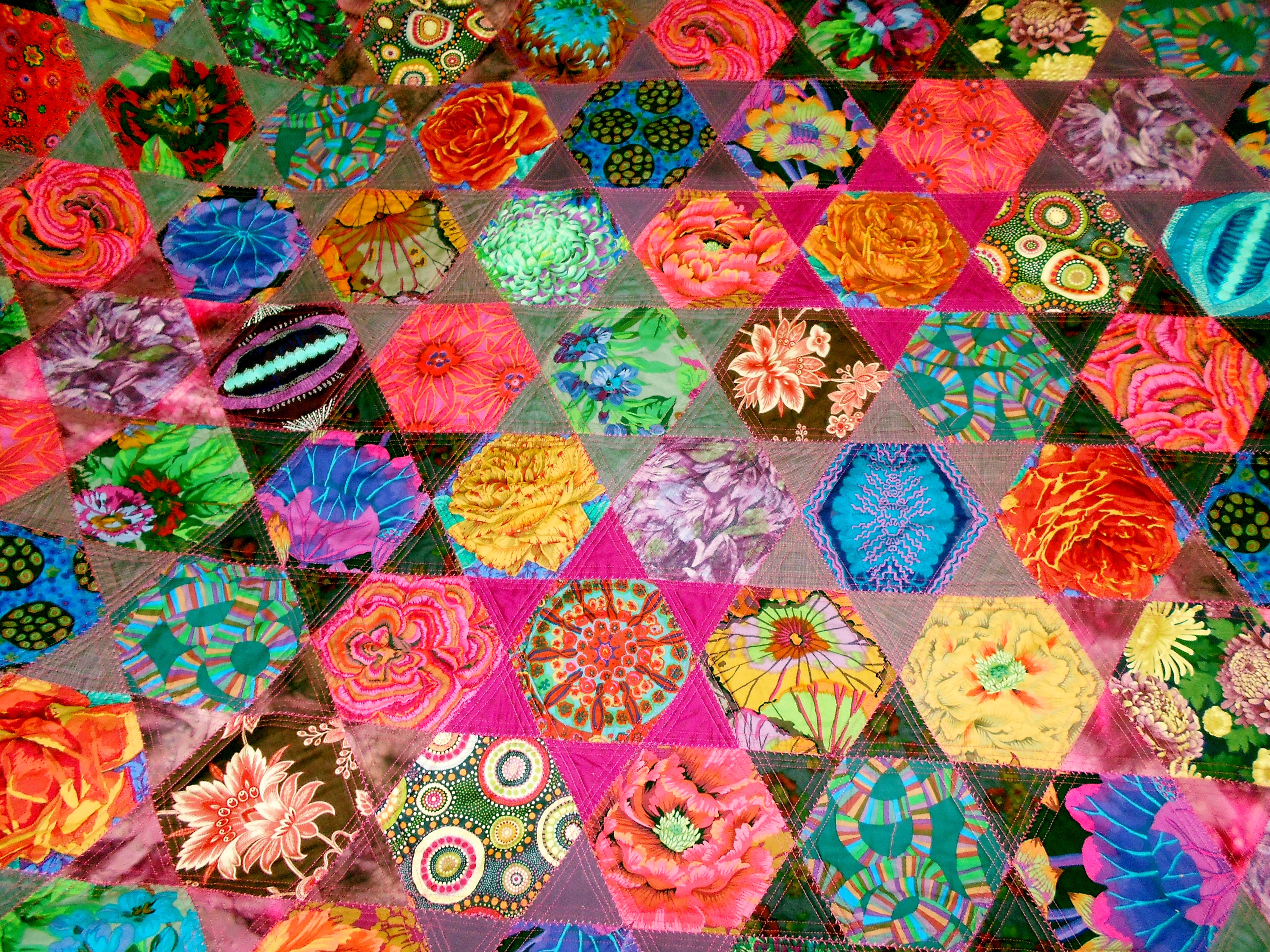 (detail) completed Kaffe Fassett quilt by Gill Roberts