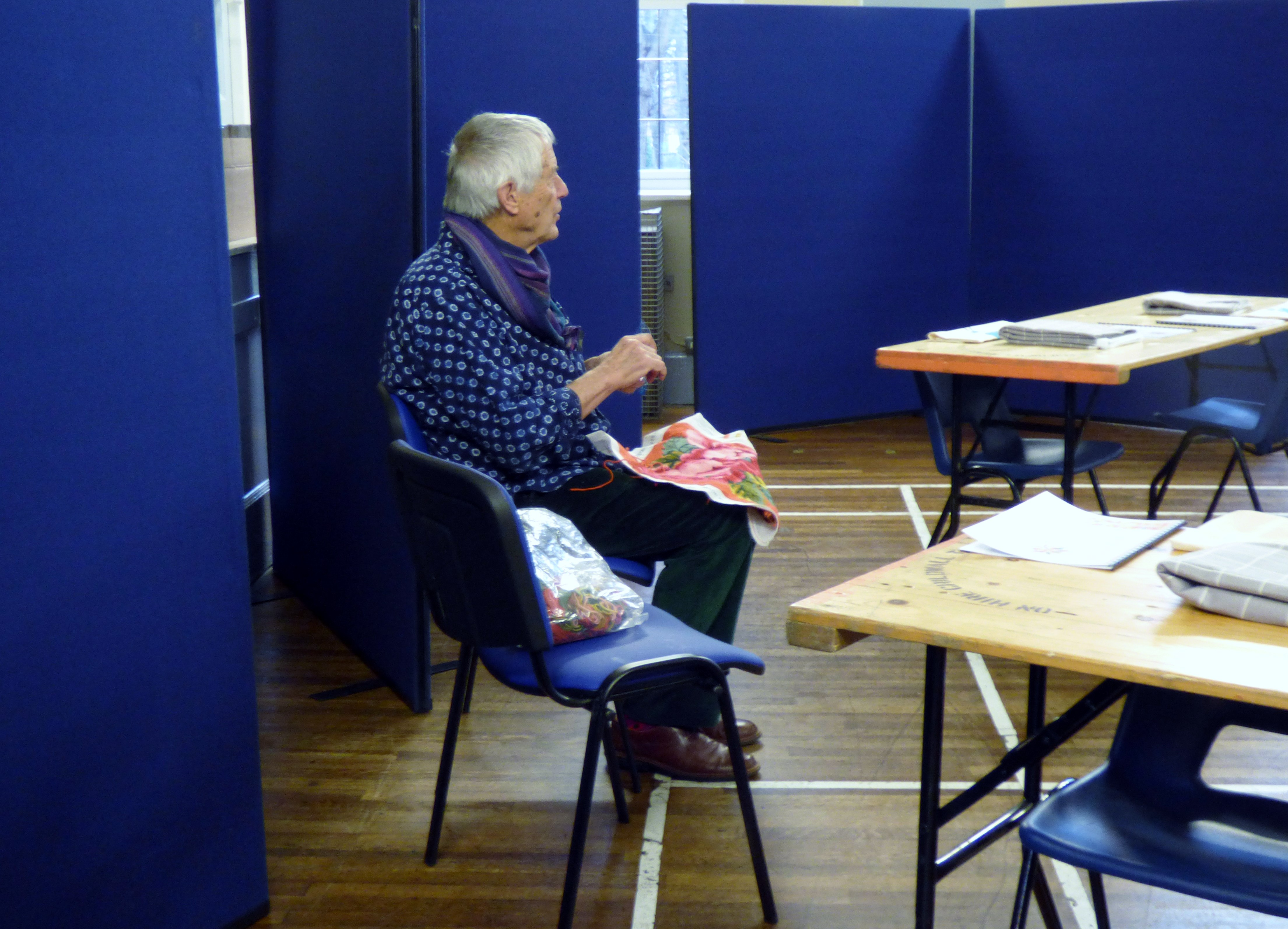 at the beginning of the day- Kaffe Fassett workshop, All Hallows, Dec 2016