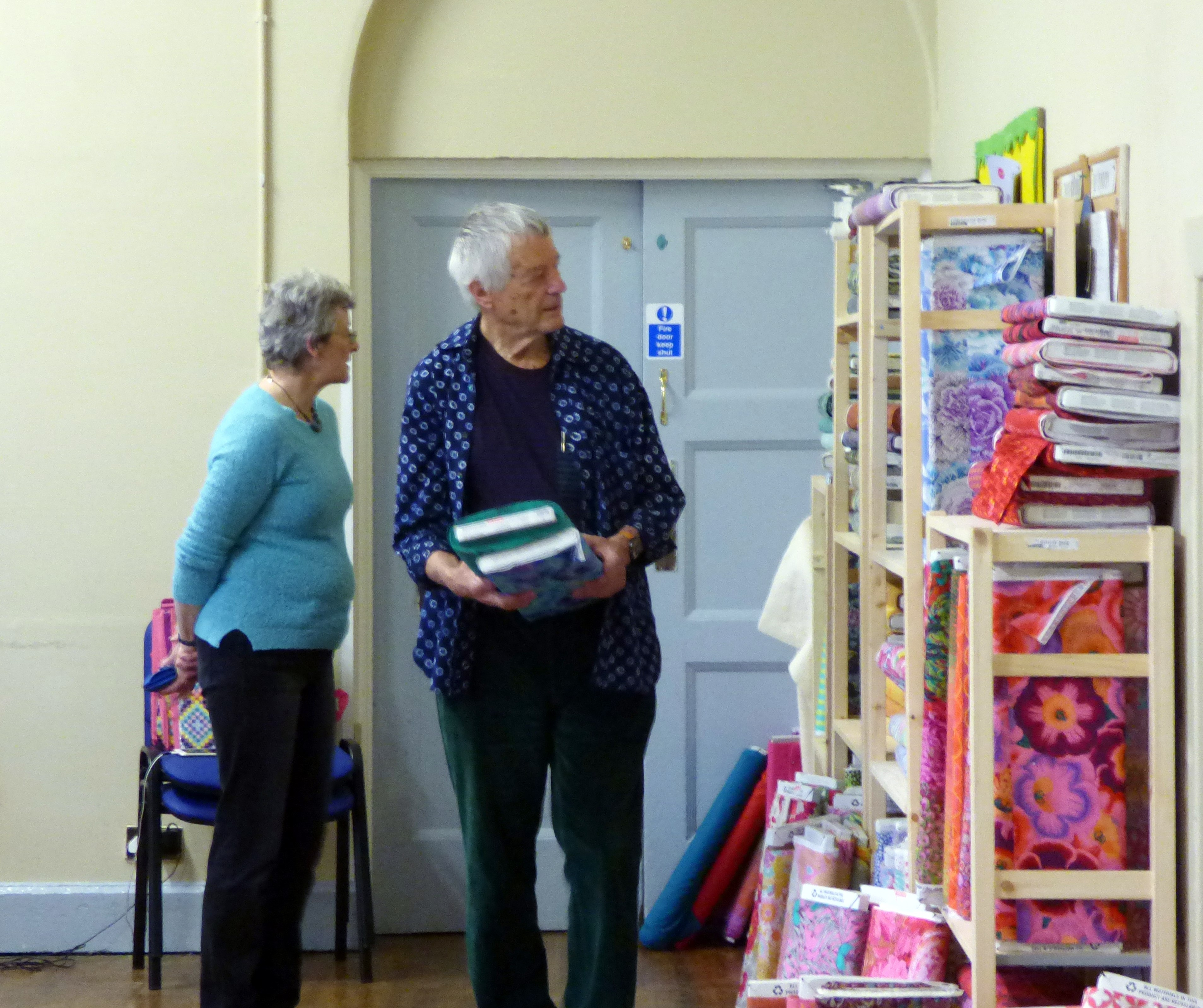 Kim is taking some advice on fabric choices- Kaffe Fassett workshop, All Hallows, Dec 2016