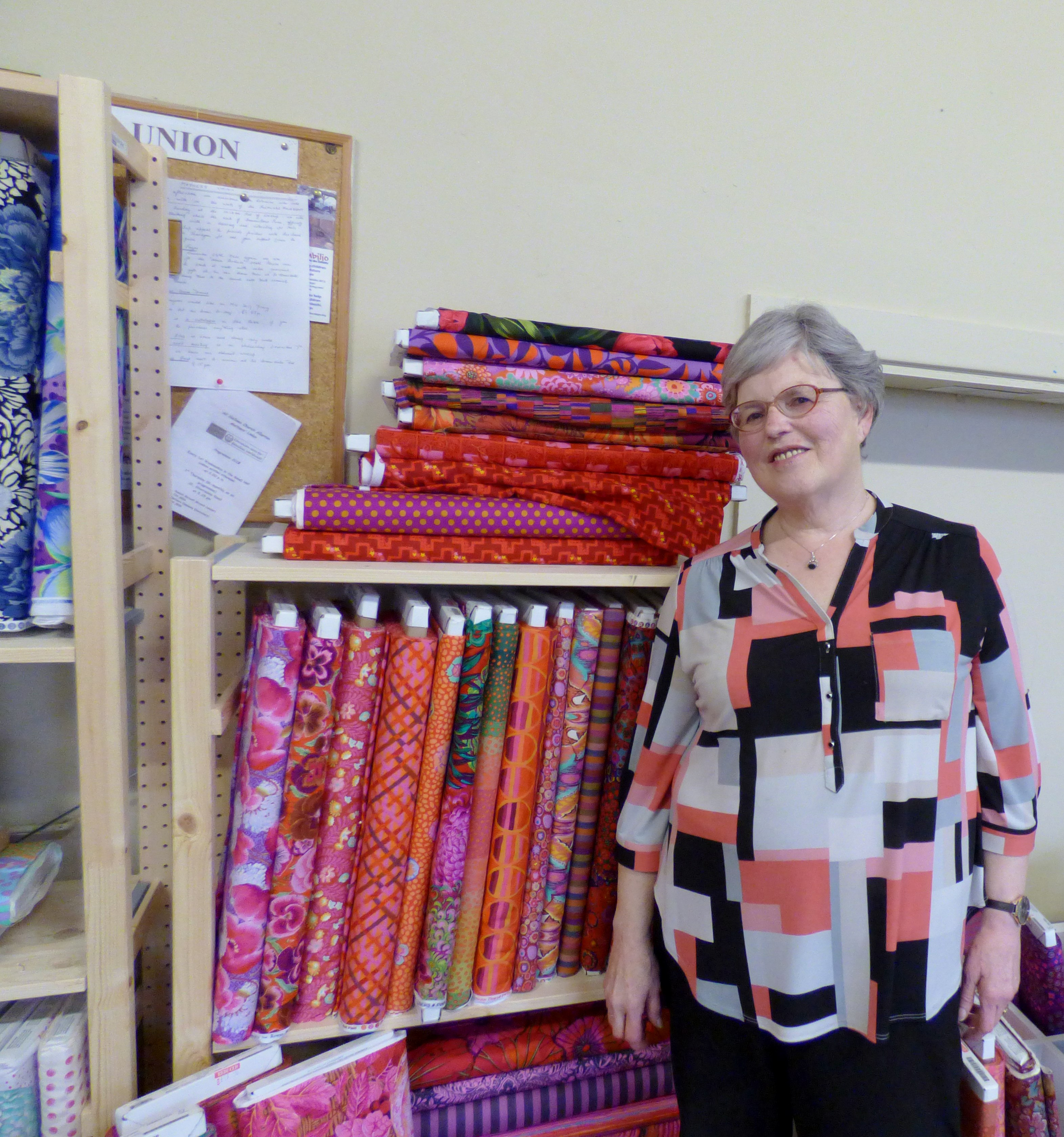 Hilary is trying to blend in with the background at Kaffe Fassett workshop, All Hallows, Dec 2016