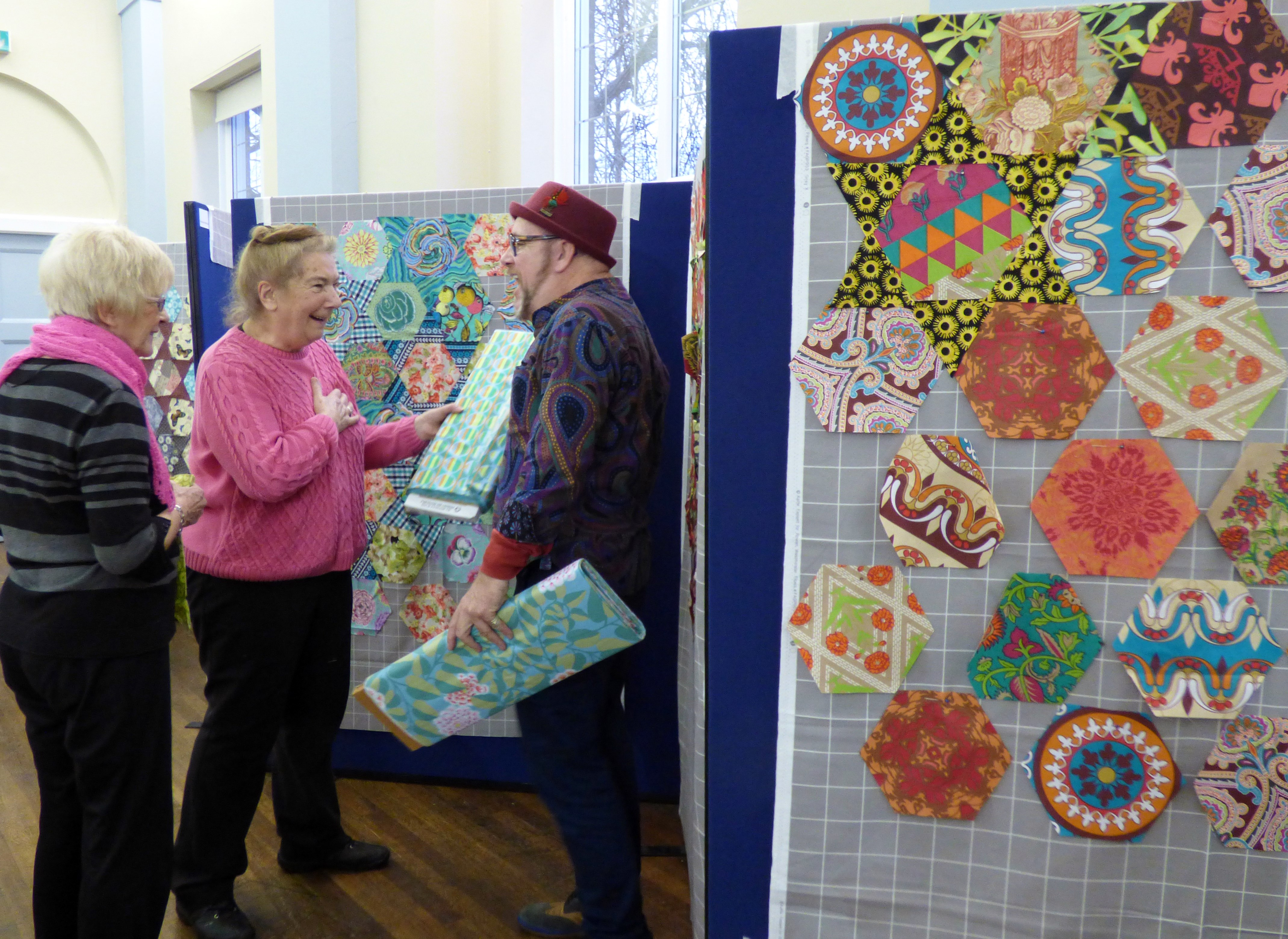 Vicky is sharing a joke with Brandon- Kaffe Fassett workshop, All Hallows, Dec 2016