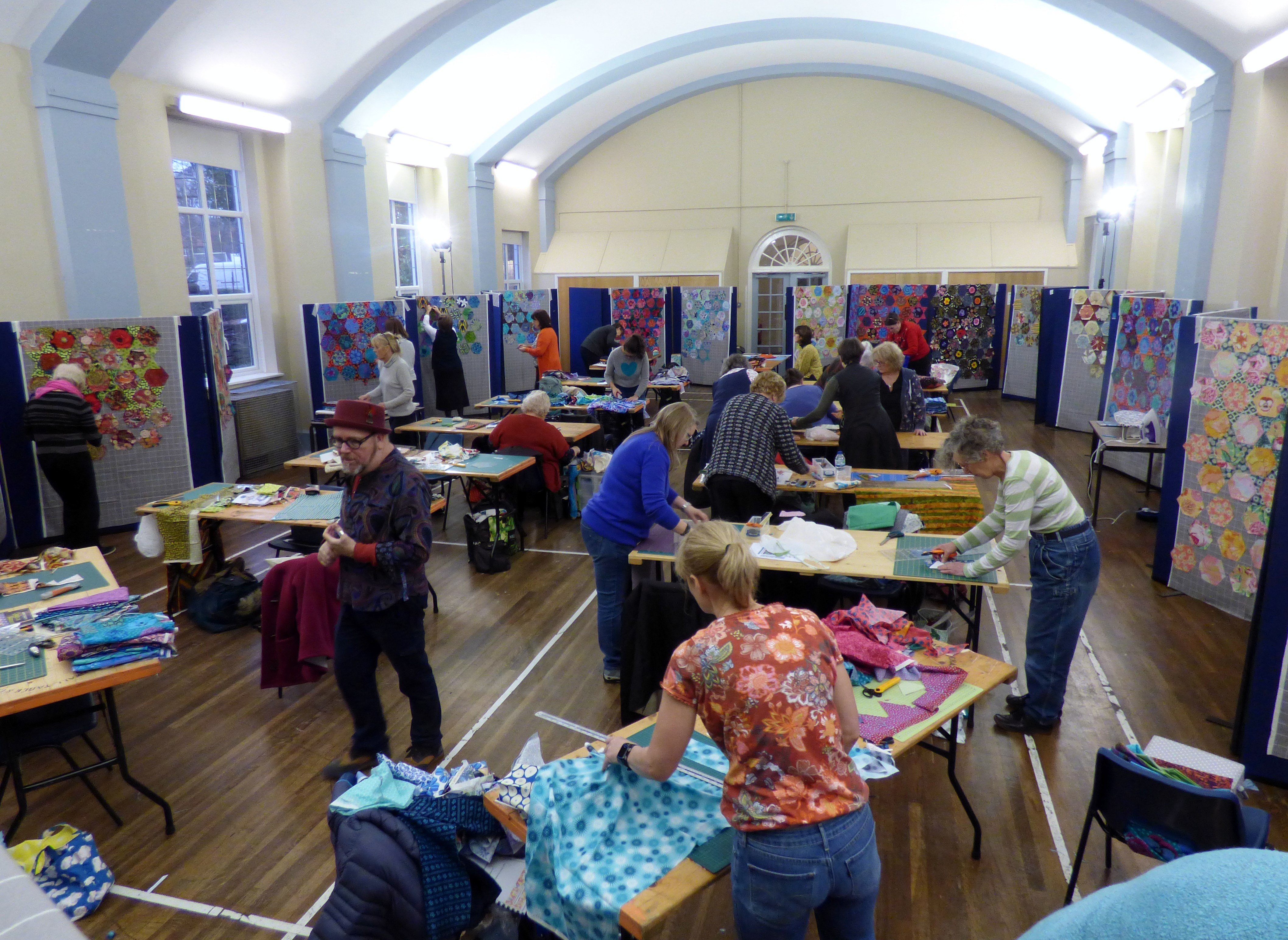 we are nearing the end of the day- Kaffe Fassett workshop, All Hallows, Dec 2016