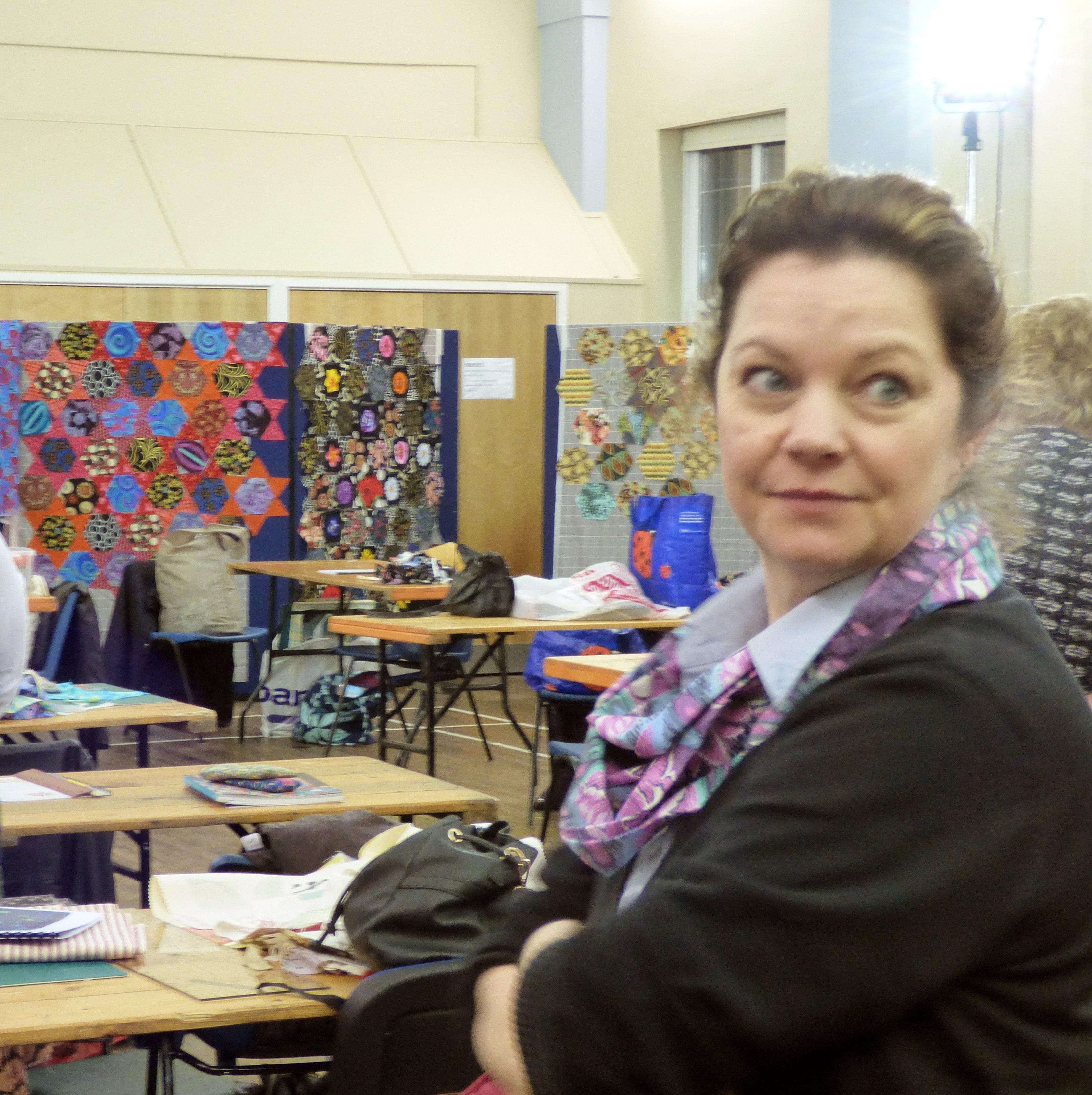 this is Sara Mulvey who ran the wonderful Black Sheep Fabric shop at Kaffe Fassett workshop, All Hallows, Dec 2016